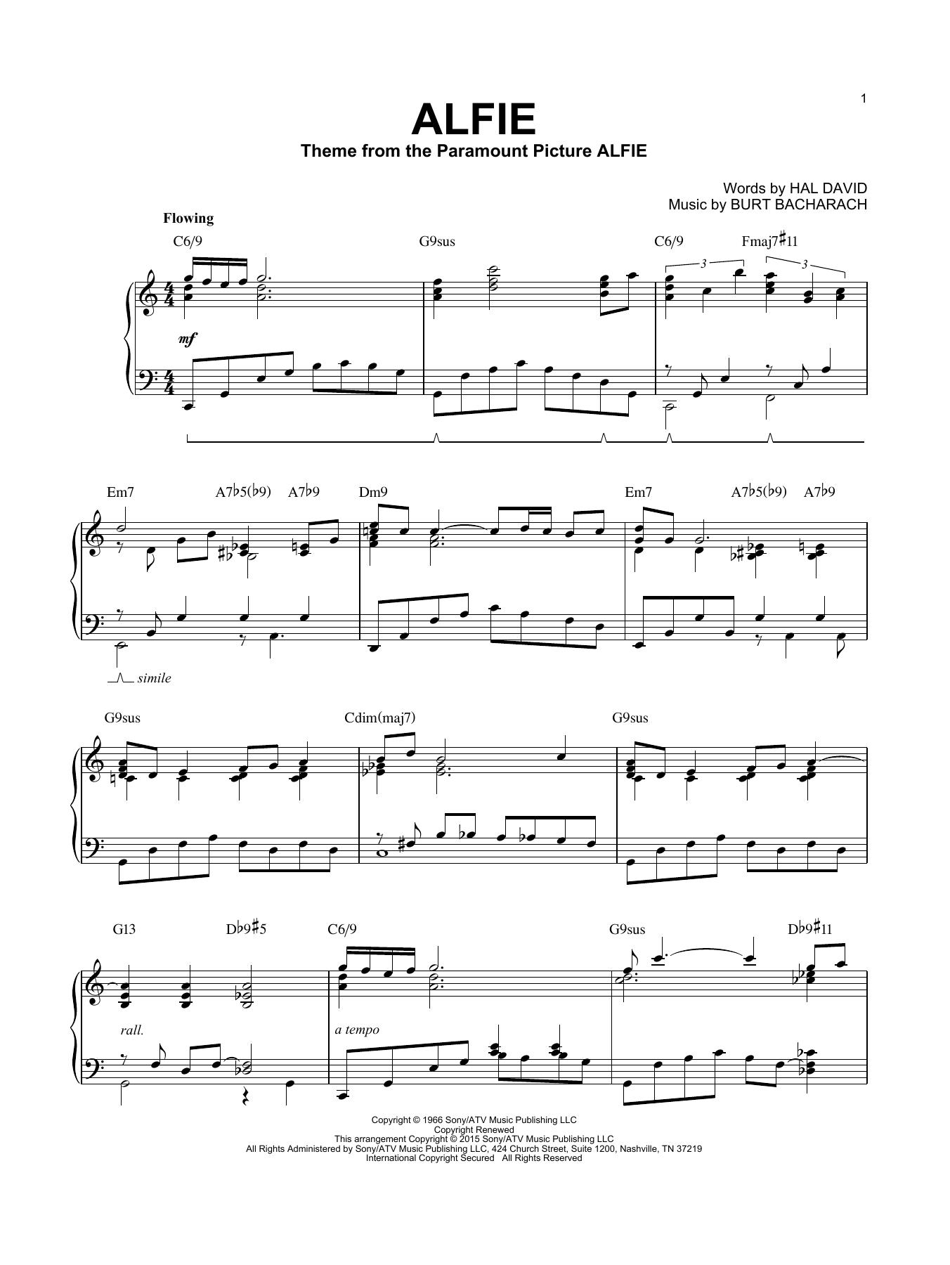Partition piano Alfie de Bacharach & David - Piano Solo