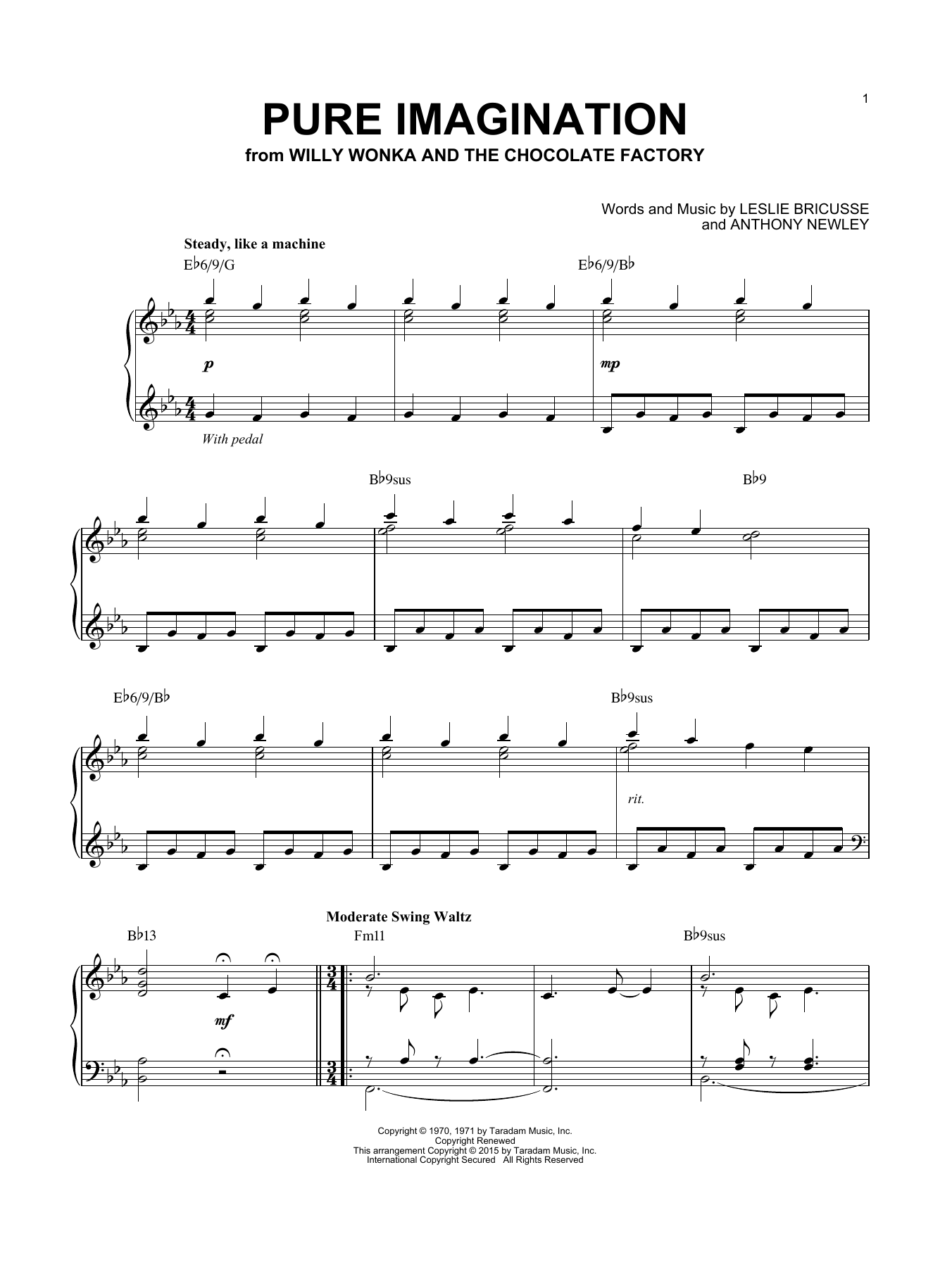 Pure Imagination (from Willy Wonka & The Chocolate Factory) (Piano Solo)