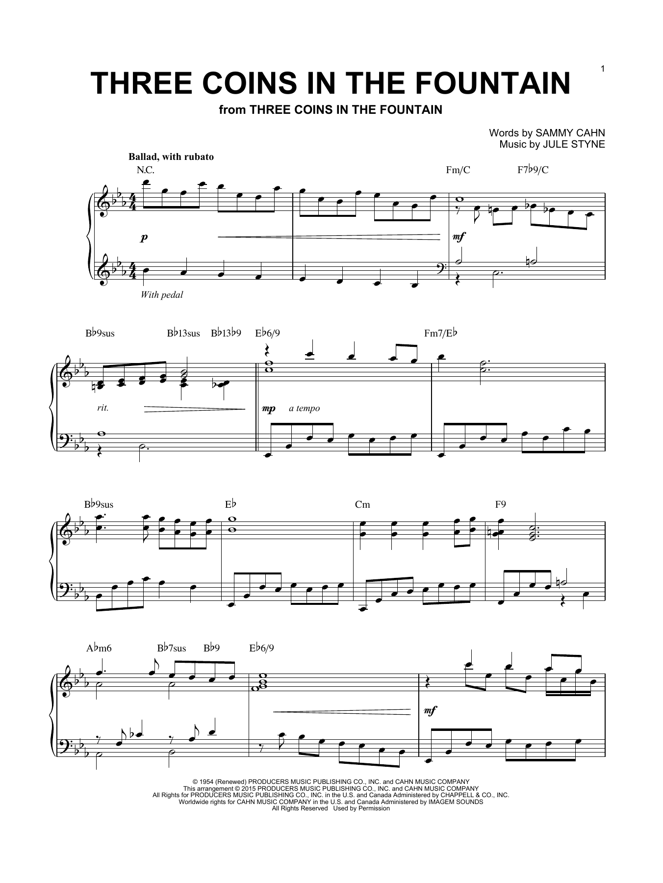 Partition piano Three Coins In The Fountain de The Four Aces - Piano Solo