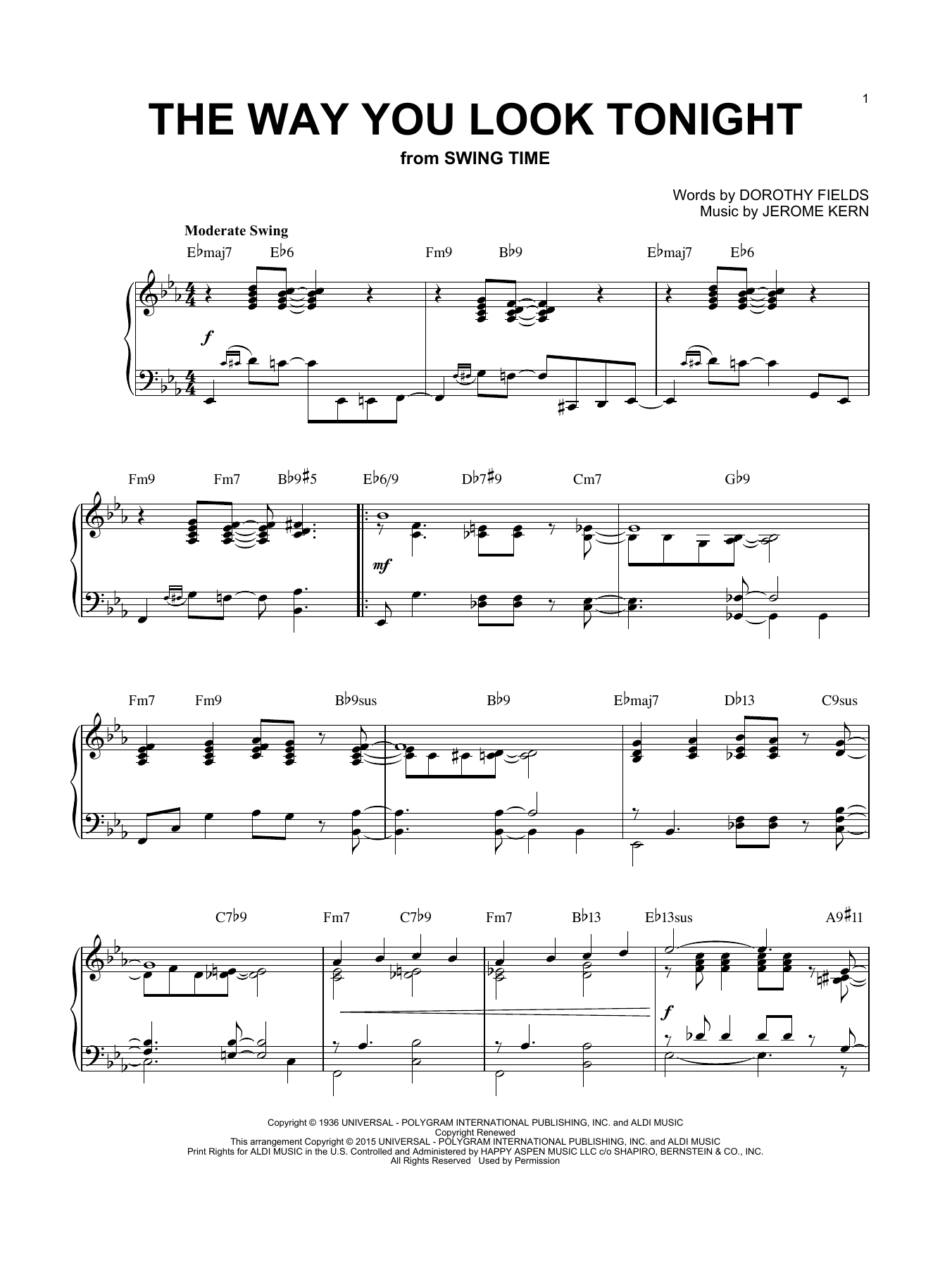 Partition piano The Way You Look Tonight de Brent Edstrom - Piano Solo