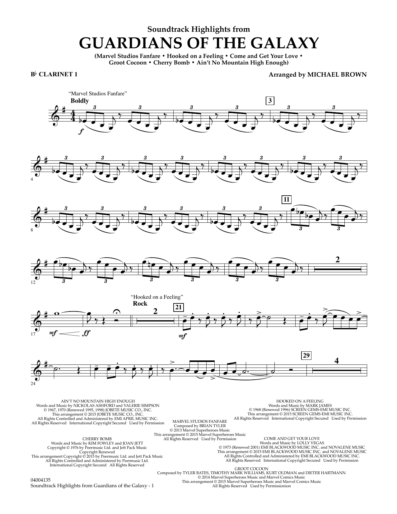 Soundtrack Highlights from Guardians of the Galaxy - Bb Clarinet 1 (Concert Band)