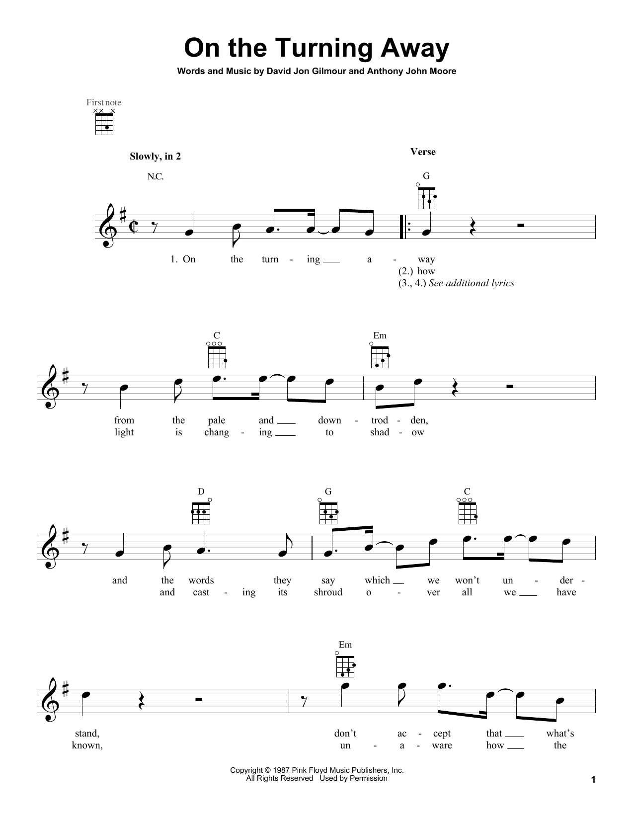 Tablature guitare On The Turning Away de Pink Floyd - Ukulele