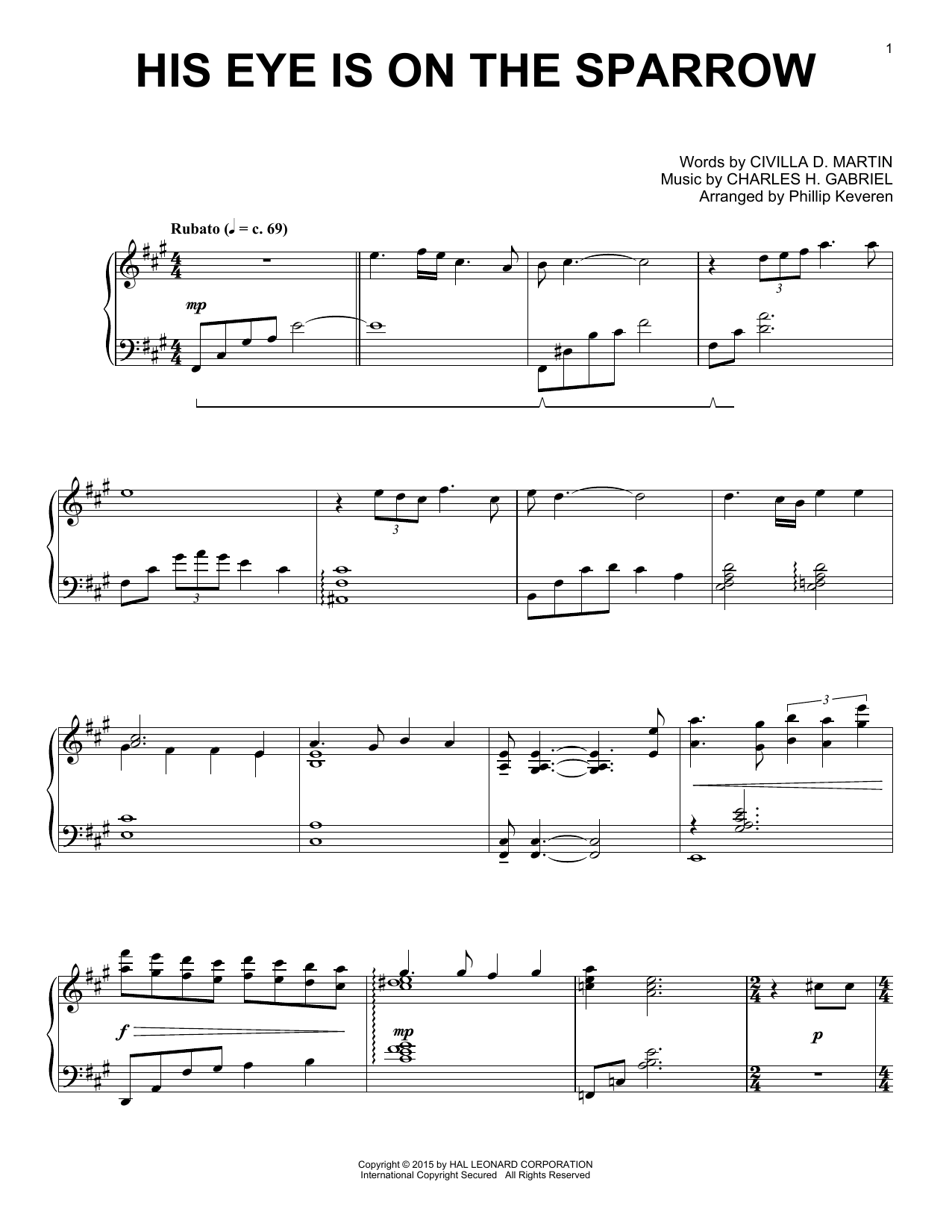 Partition piano His Eye Is On The Sparrow de Phillip Keveren - Piano Solo