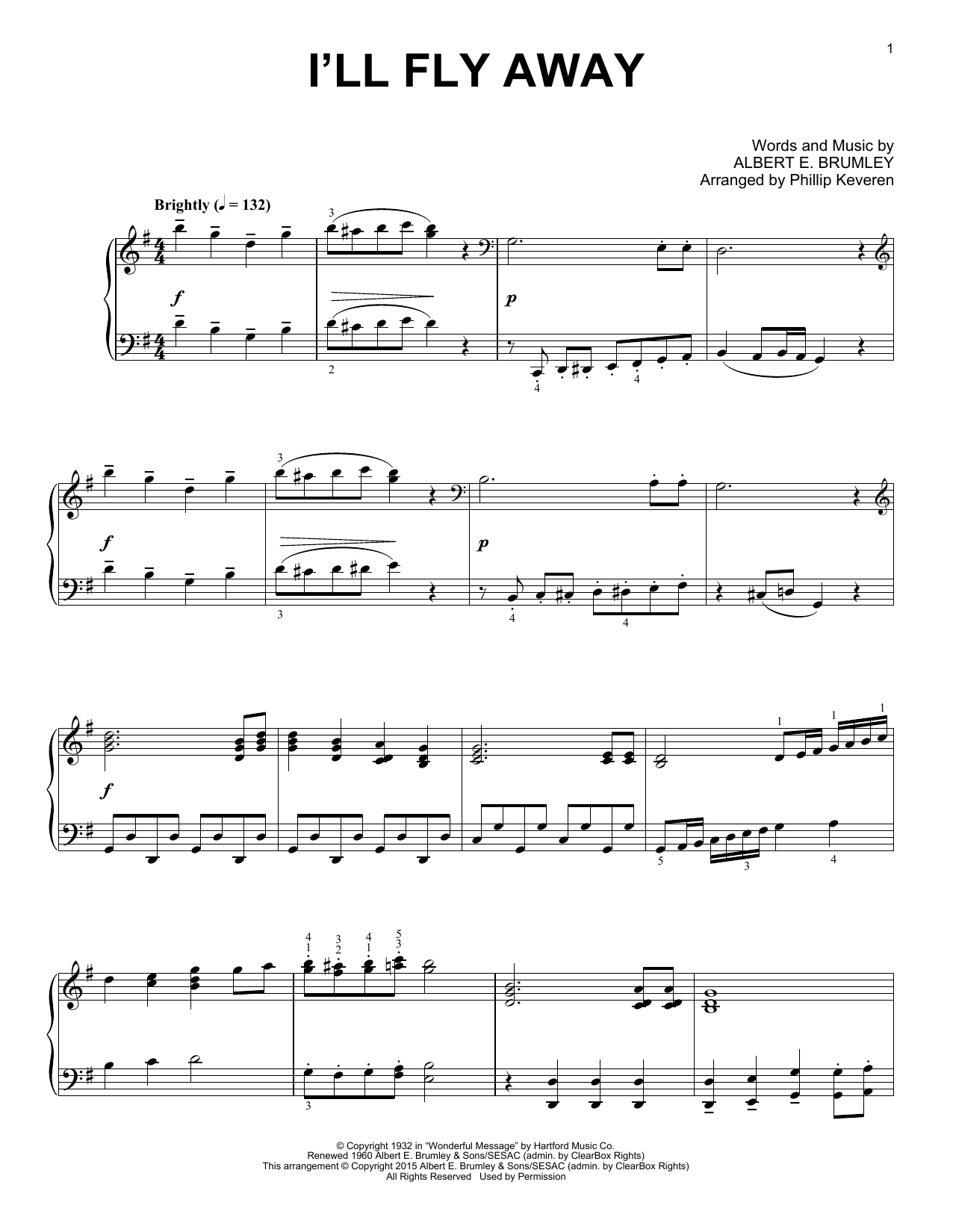 Partition piano I'll Fly Away de Phillip Keveren - Piano Solo
