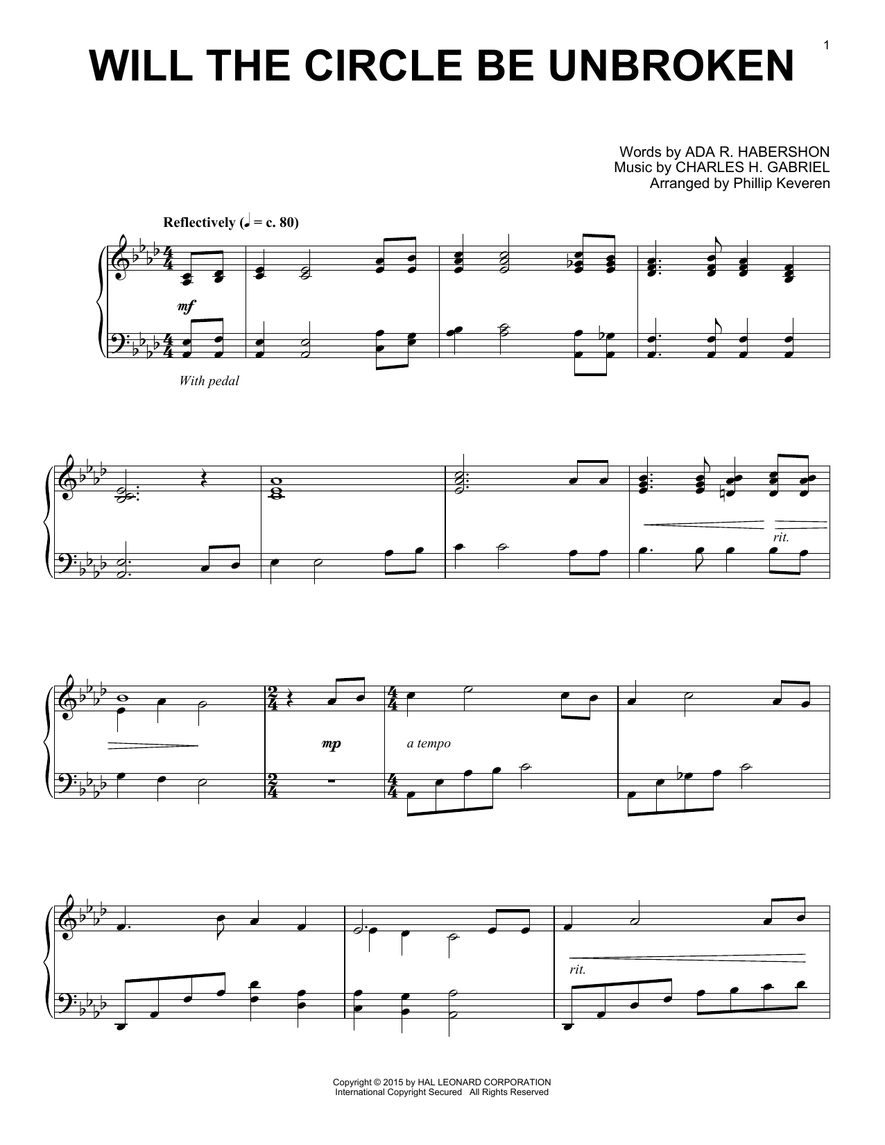 Partition piano Will The Circle Be Unbroken de Charles H. Gabriel - Piano Solo