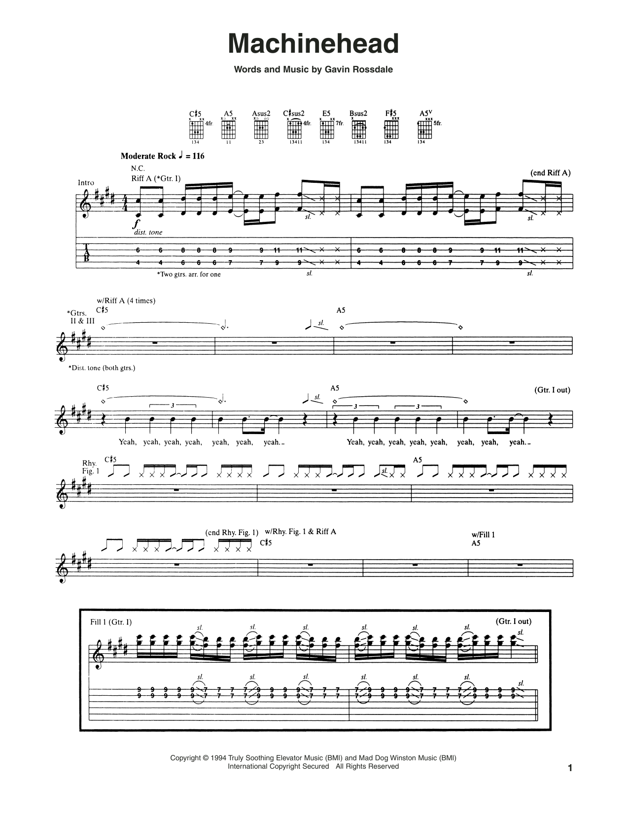 Tablature guitare Machinehead de Bush - Tablature Guitare