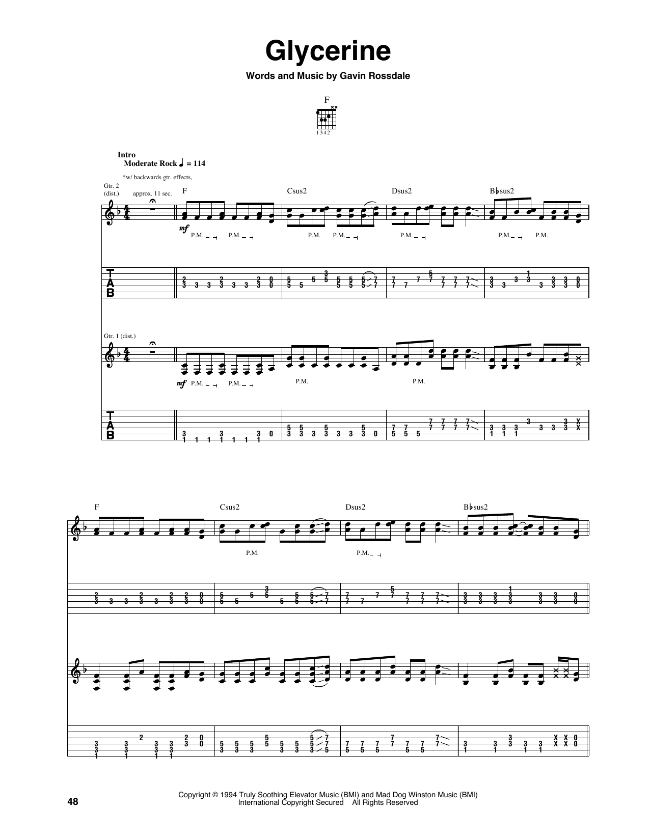 Glycerine Sheet Music