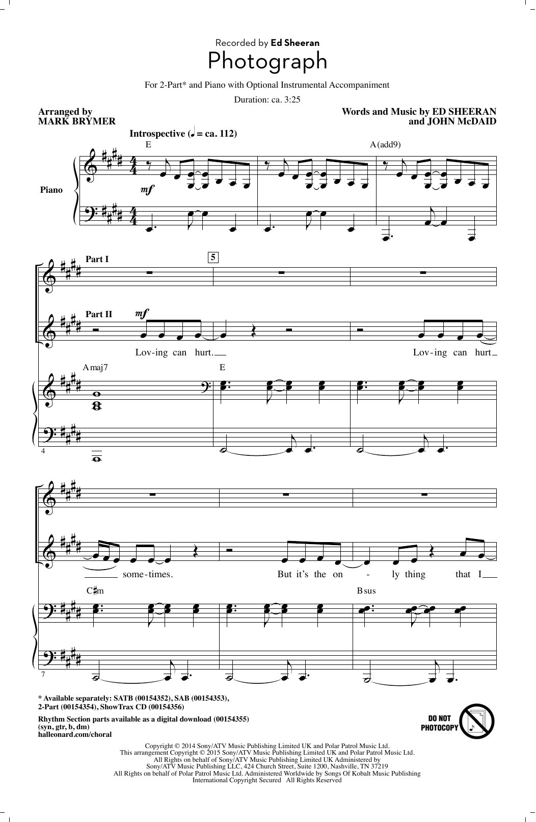 Photograph (arr. Mark Brymer) 2 - part choir sheet music