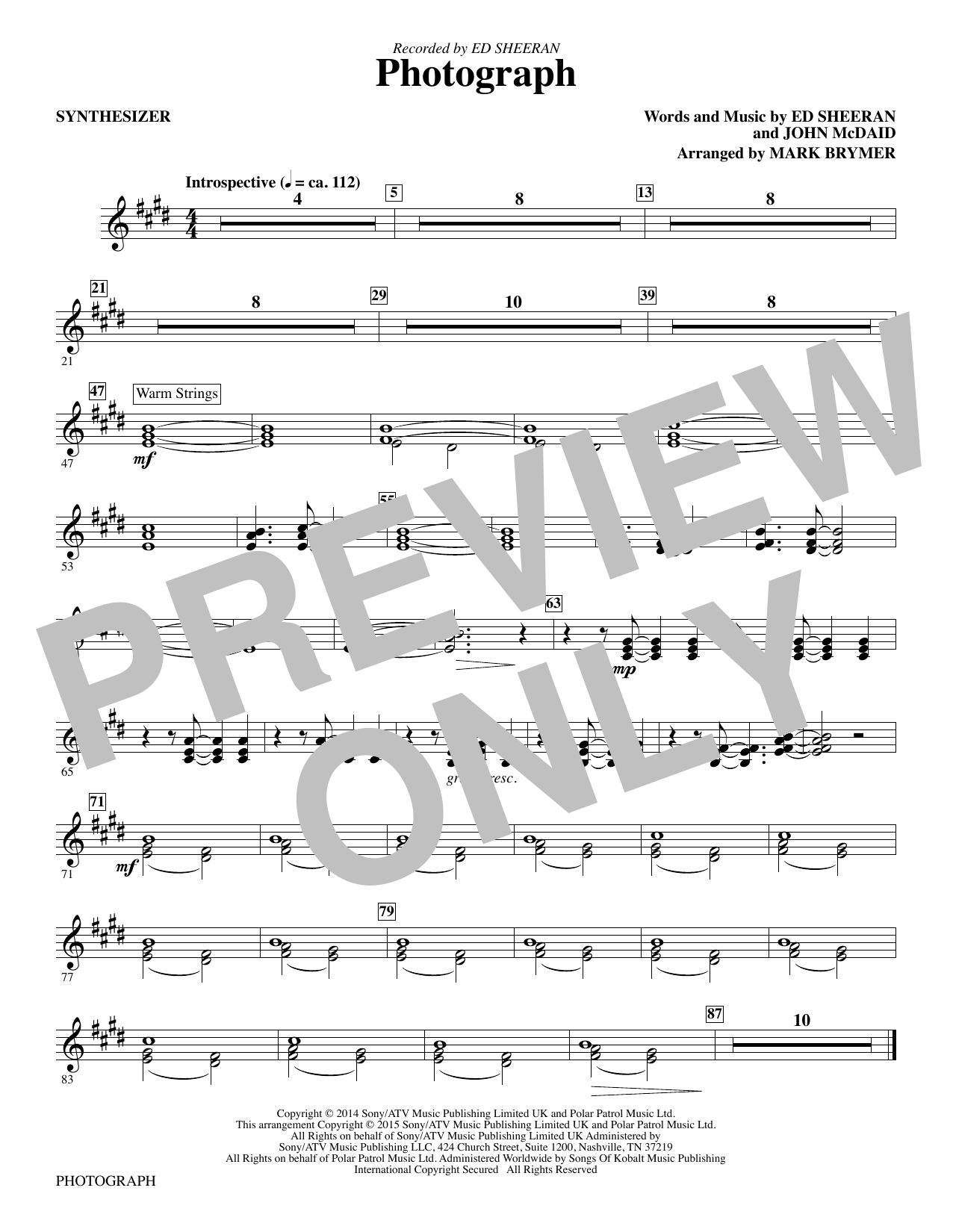 Photograph (complete set of parts) sheet music for orchestra/band by Mark Brymer, Ed Sheeran and John McDaid. Score Image Preview.
