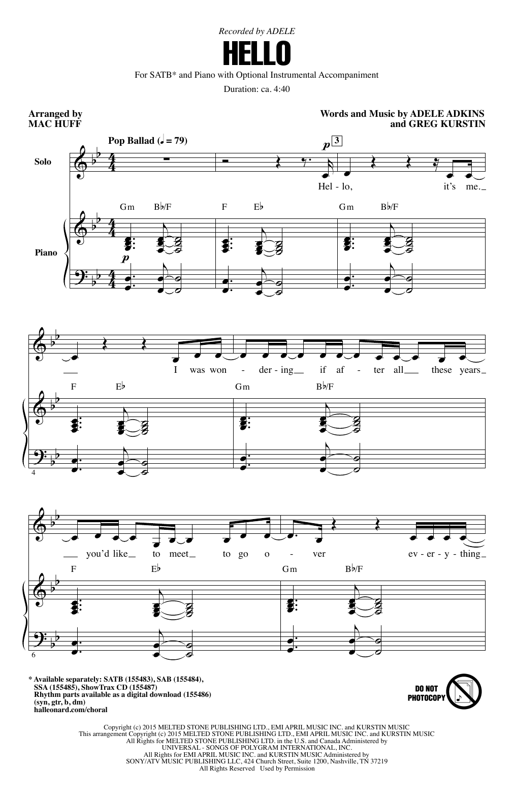 Hello (arr. Mac Huff) (SATB Choir)