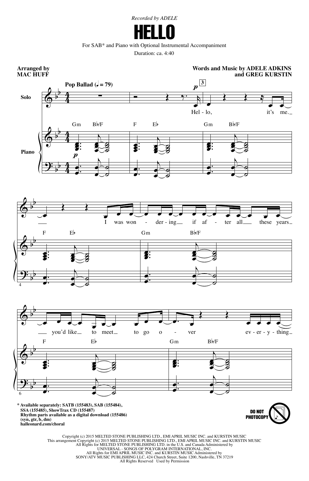 Hello (arr. Mac Huff) Sheet Music