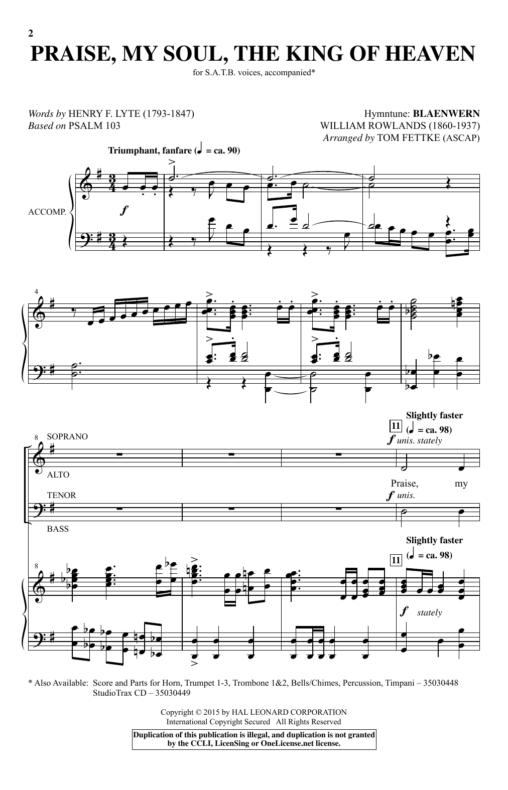 Praise, My Soul, The King Of Heaven (arr. Tom Fettke) Sheet Music