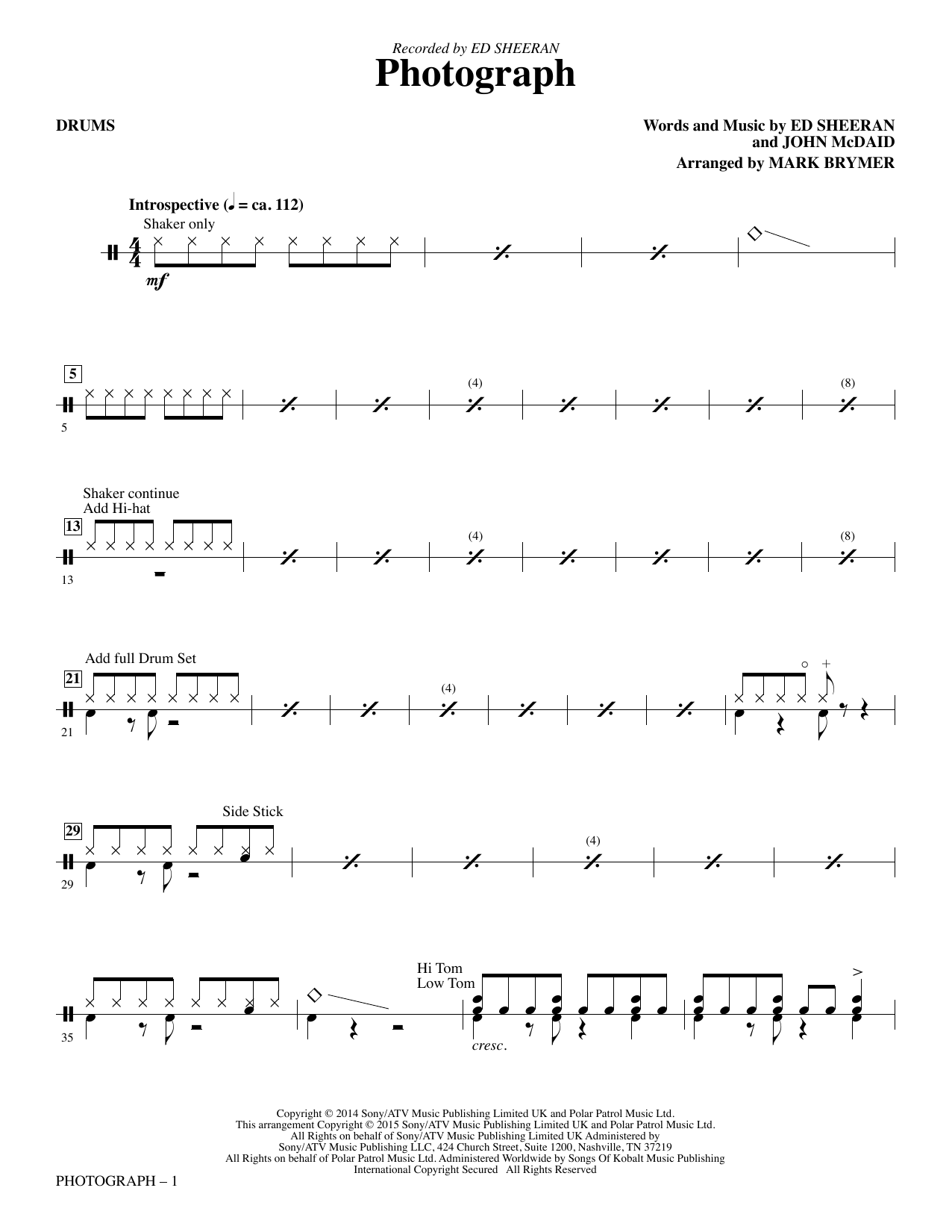 Photograph - Drums Sheet Music