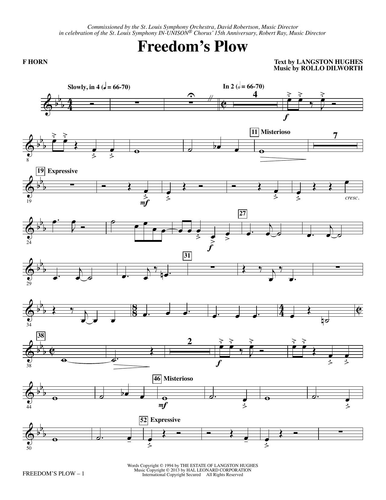 Freedom's Plow - F Horn (Choir Instrumental Pak)