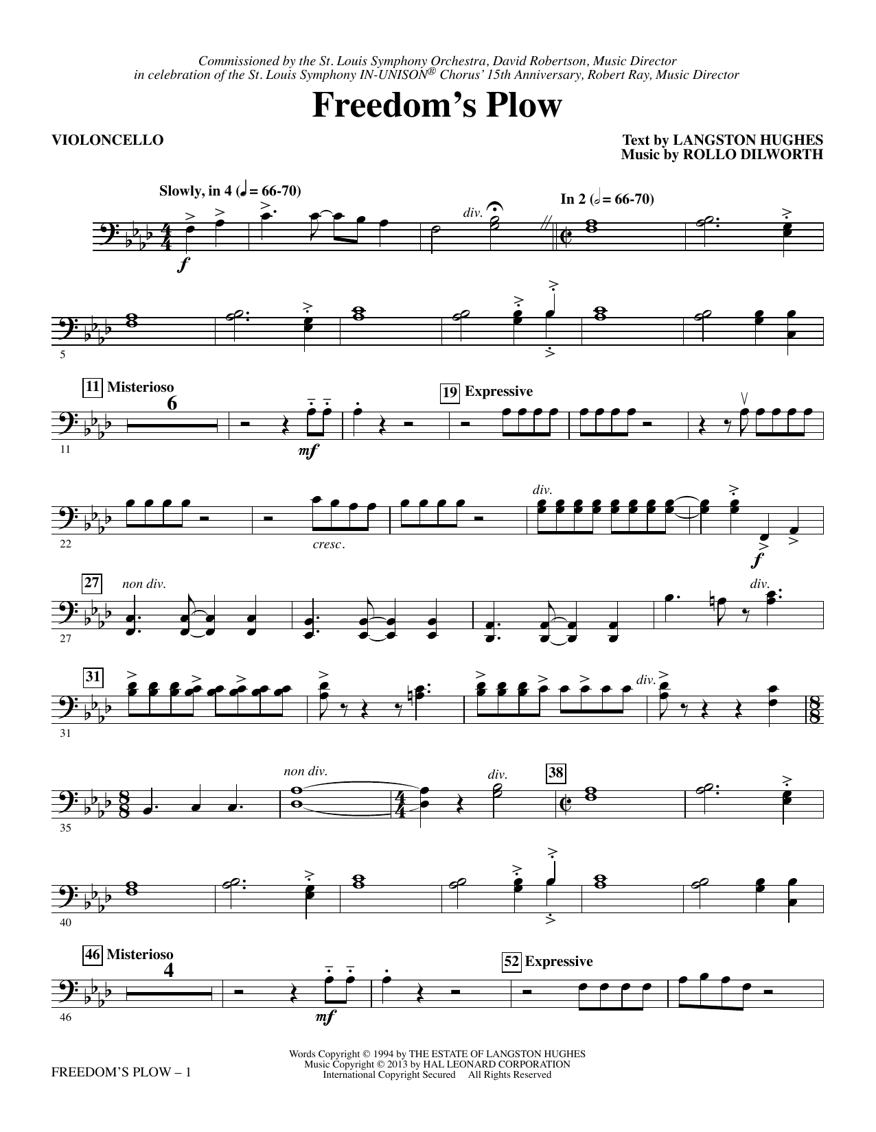 Freedom's Plow - Violoncello Sheet Music