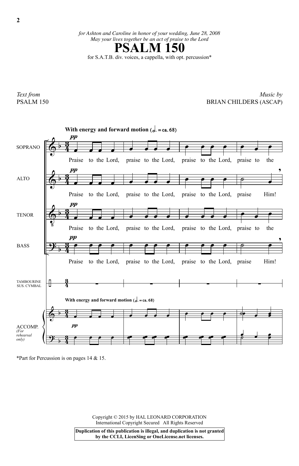 Partition chorale Psalm 150 de Brian Childers - SATB