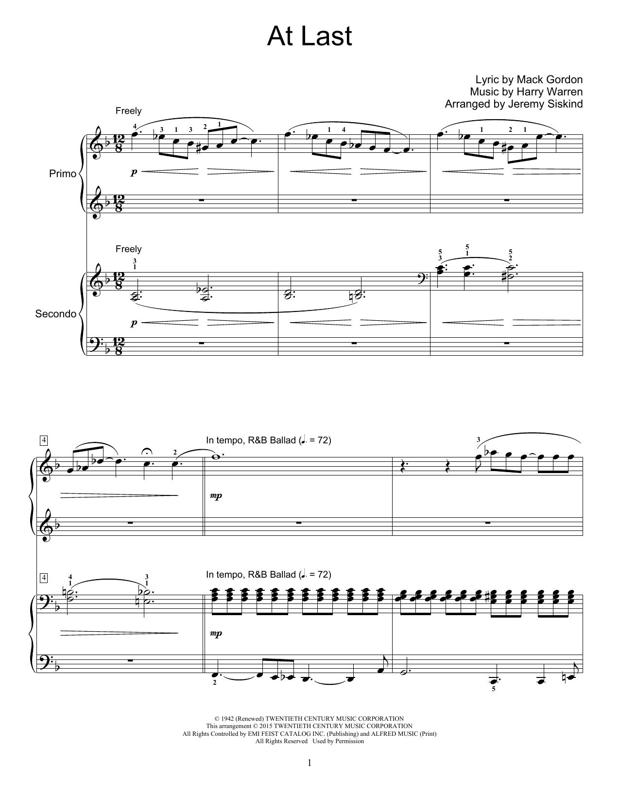Partition piano At Last de Jeremy Siskind - 4 mains