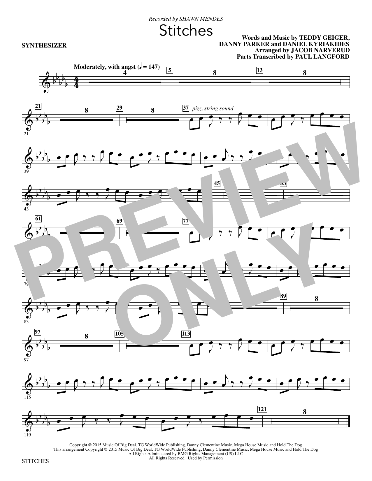 Stitches (complete set of parts) sheet music for orchestra/band by Jacob Narverud, Shawn Mendes and Teddy Geiger. Score Image Preview.