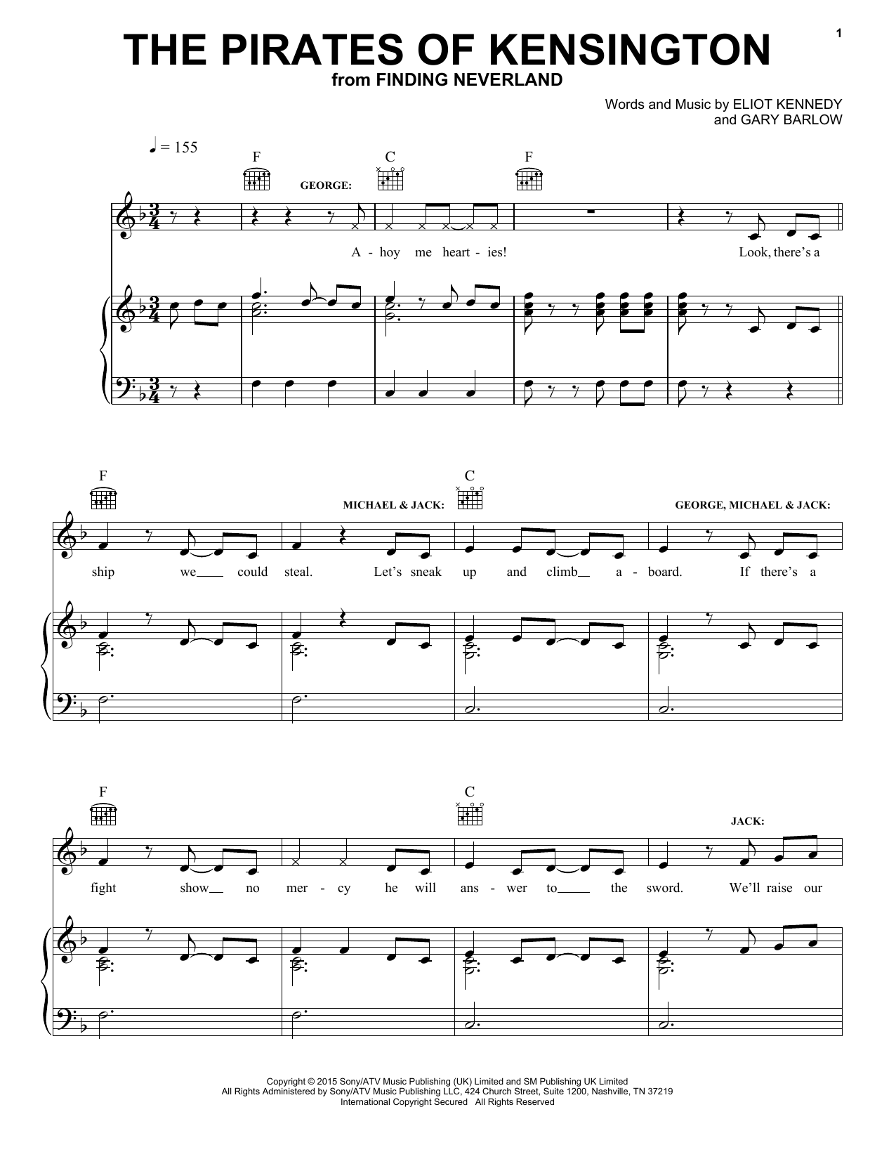 The Pirates Of Kensington (from 'Finding Neverland') Sheet Music