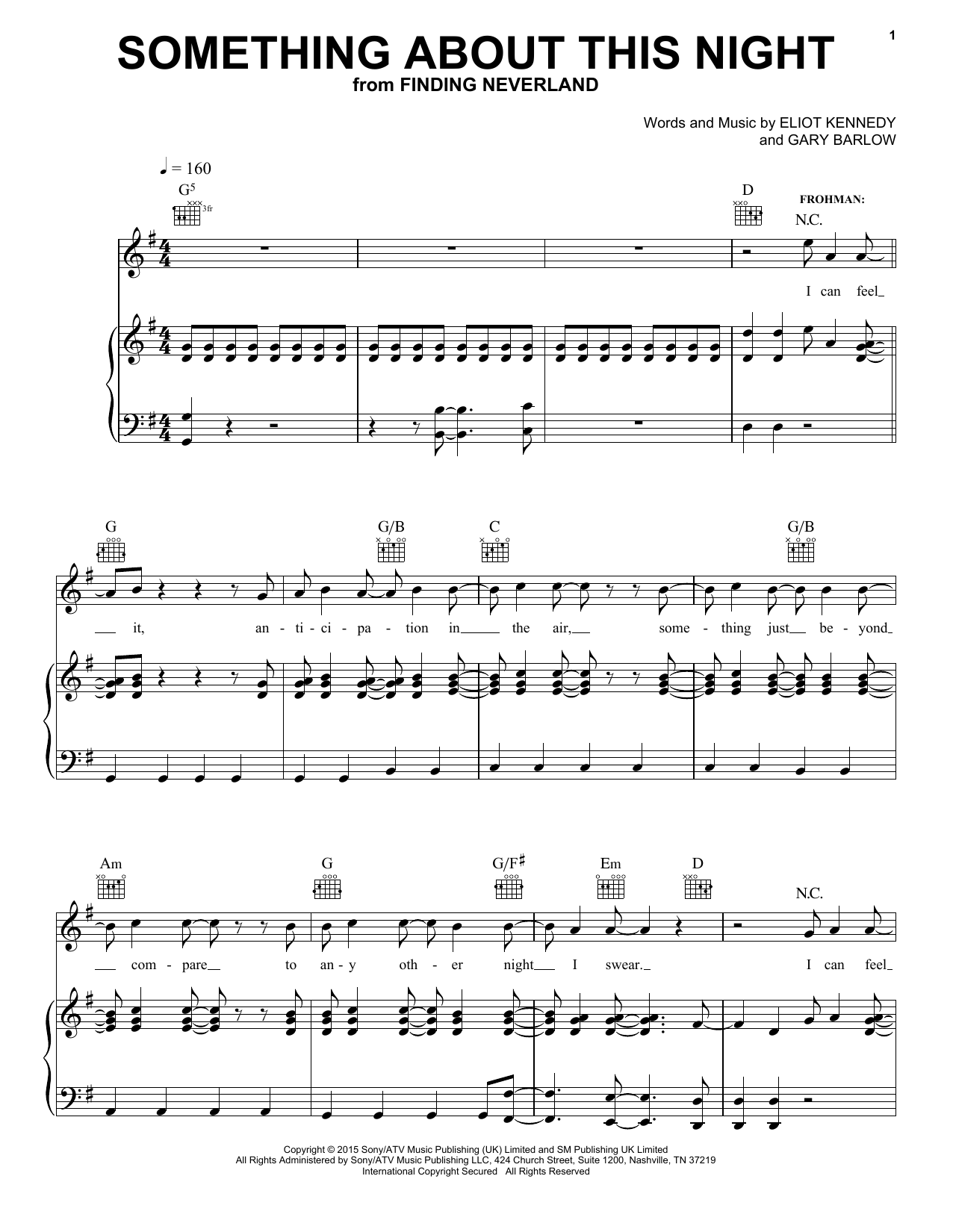 Something About This Night (from 'Finding Neverland') Sheet Music