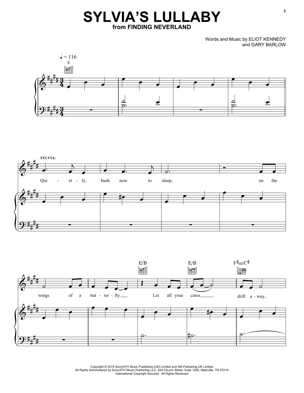 Sylvia's Lullaby (from 'Finding Neverland') Sheet Music