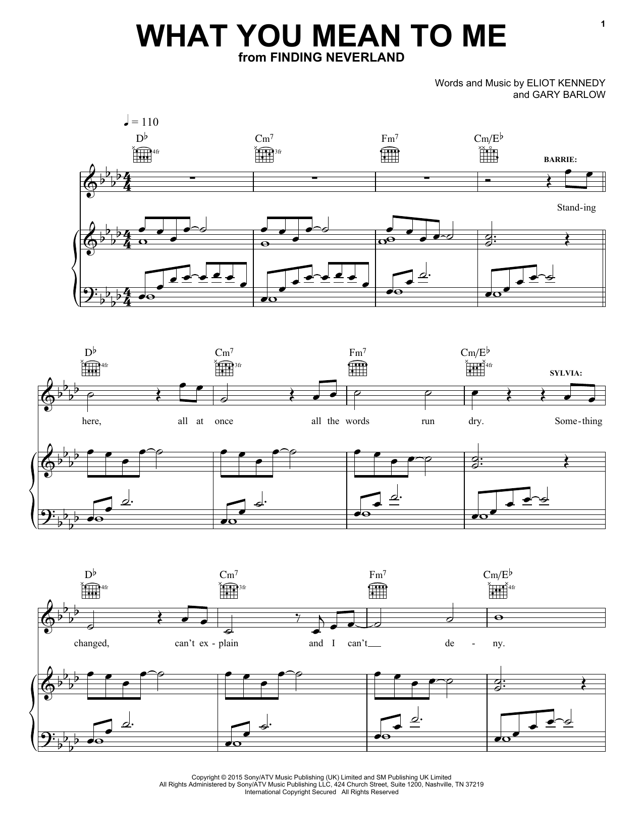 What You Mean To Me (from 'Finding Neverland') Sheet Music