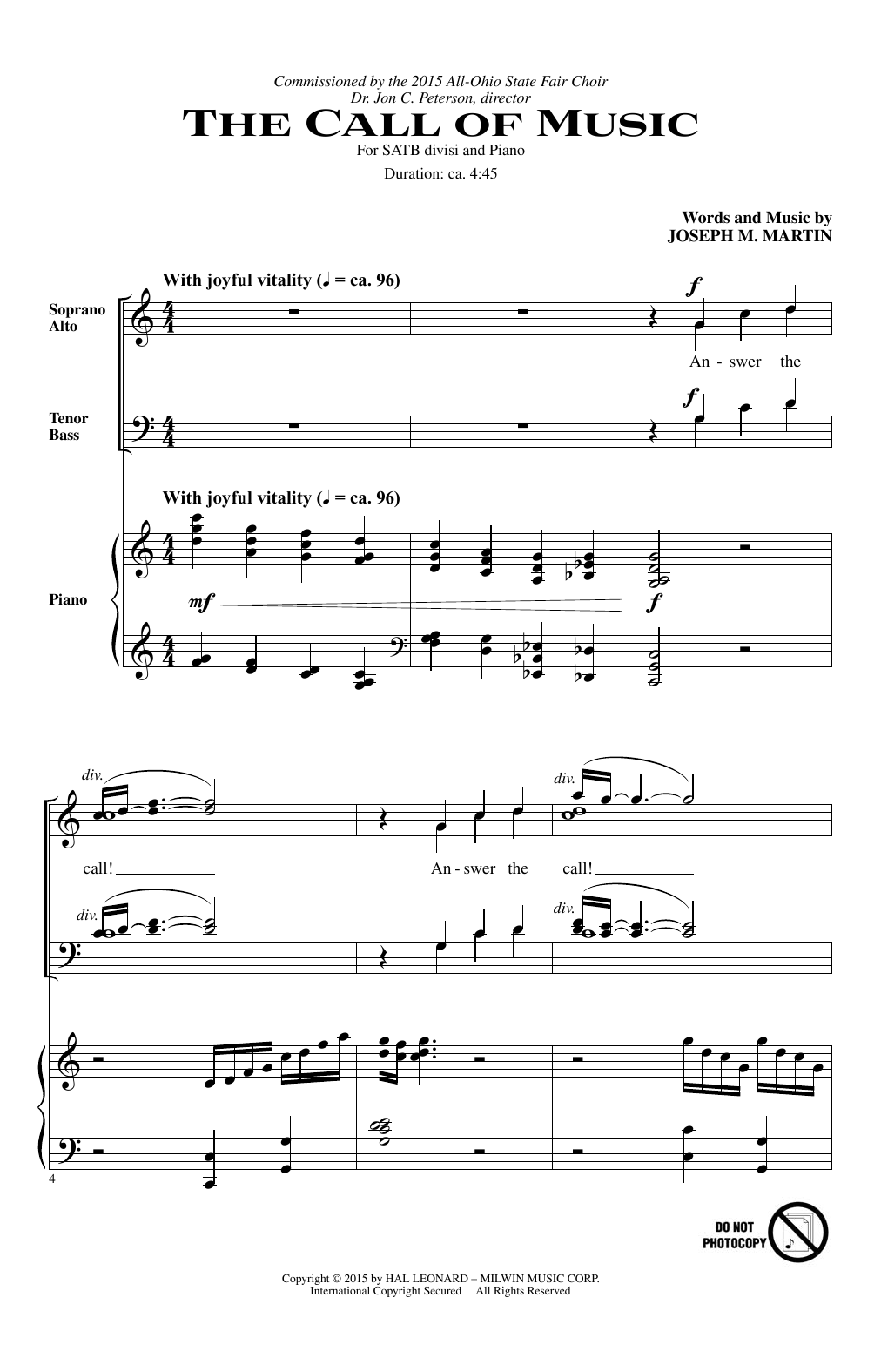 The Call Of Music Sheet Music