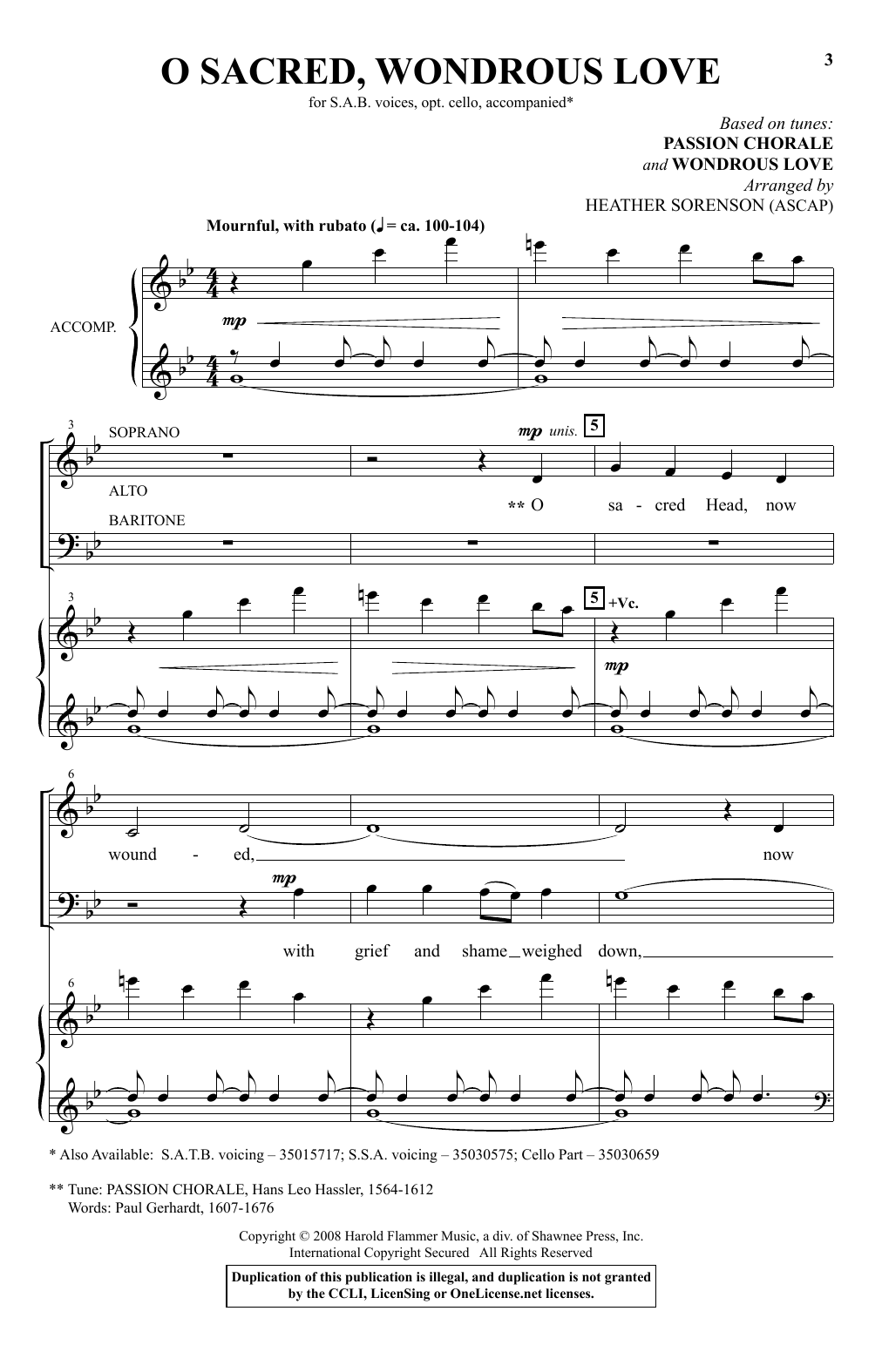 O Sacred, Wondrous Love Sheet Music