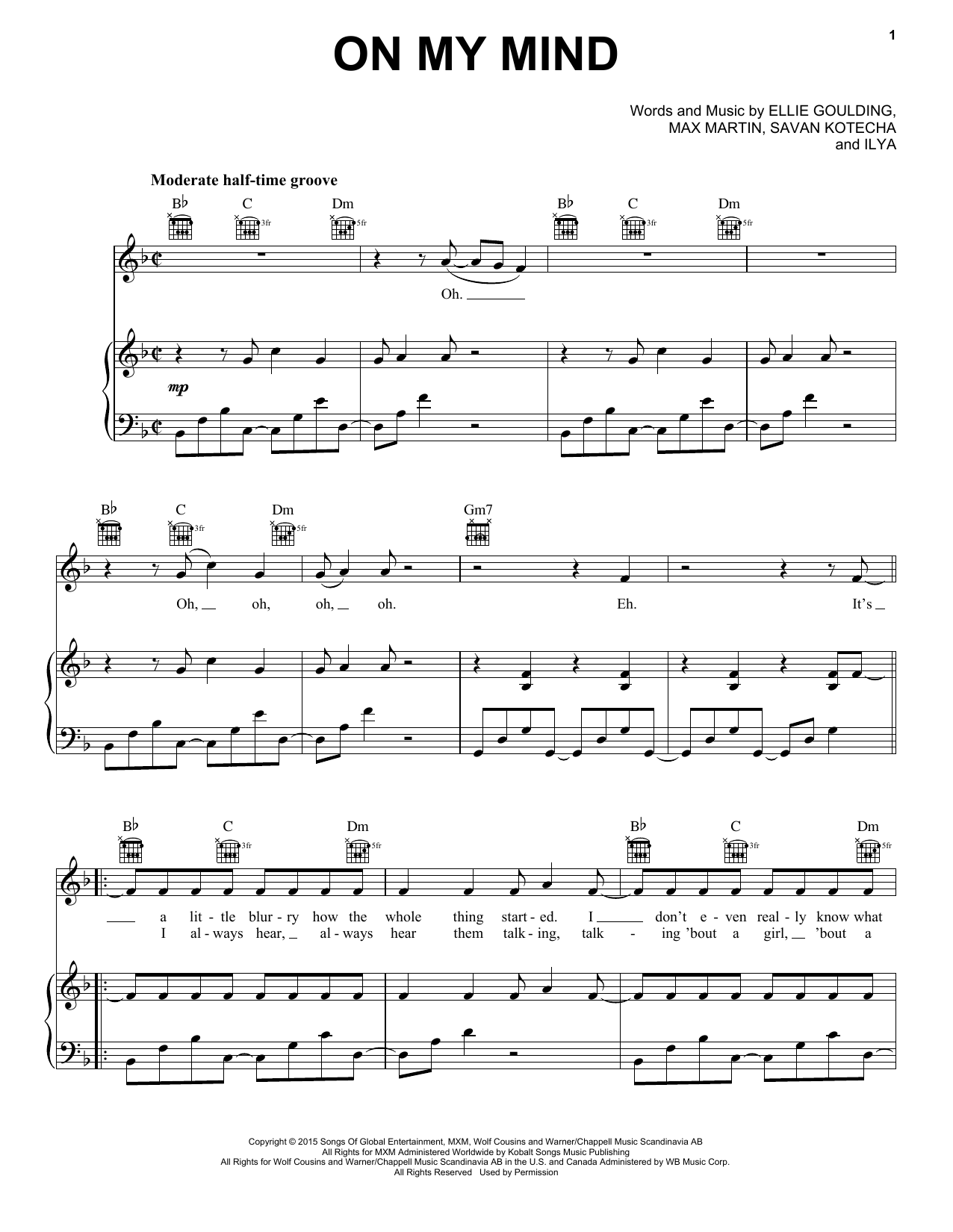 On My Mind Sheet Music