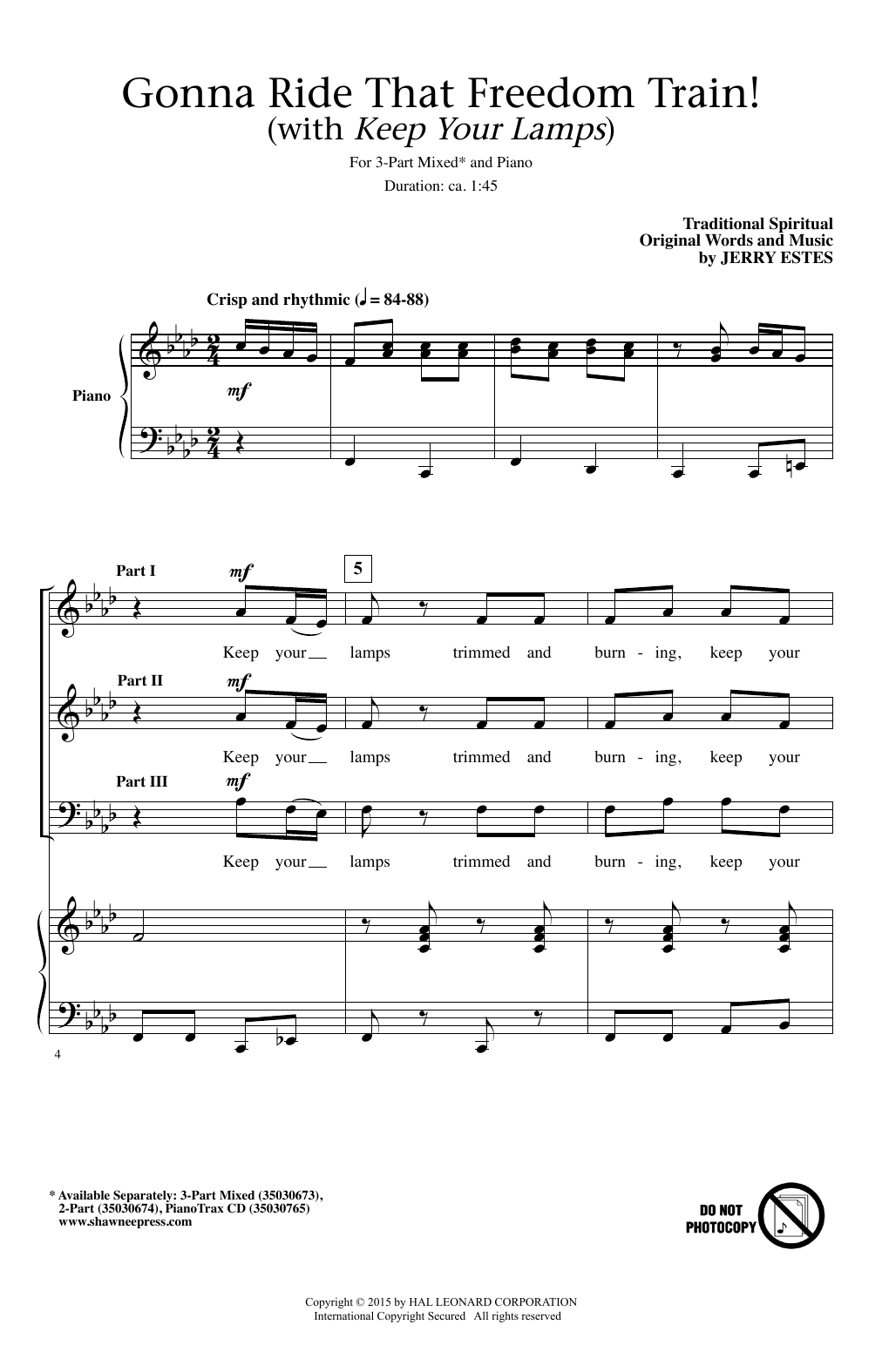 Gonna Ride That Freedom Train! (With Keep Your Lamps) Sheet Music