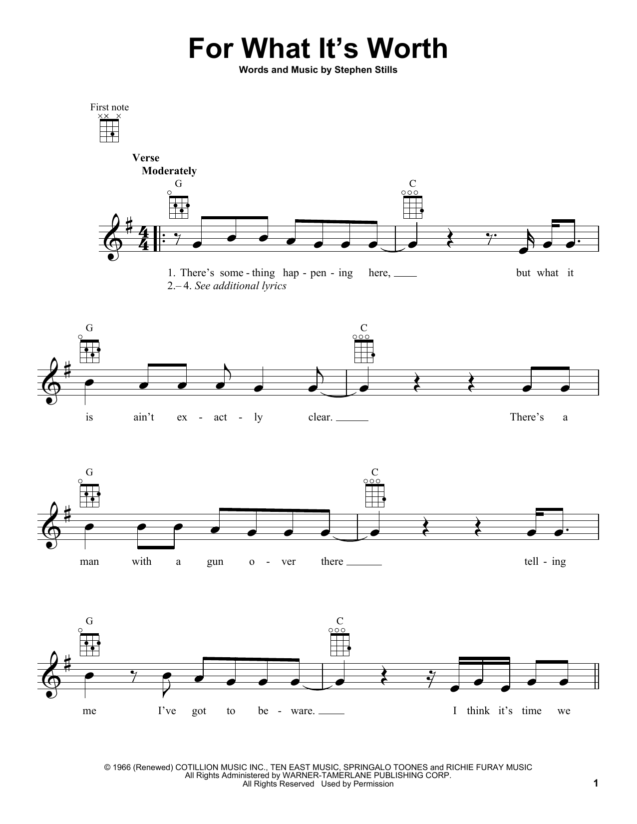 Tablature guitare For What It's Worth de Buffalo Springfield - Ukulele