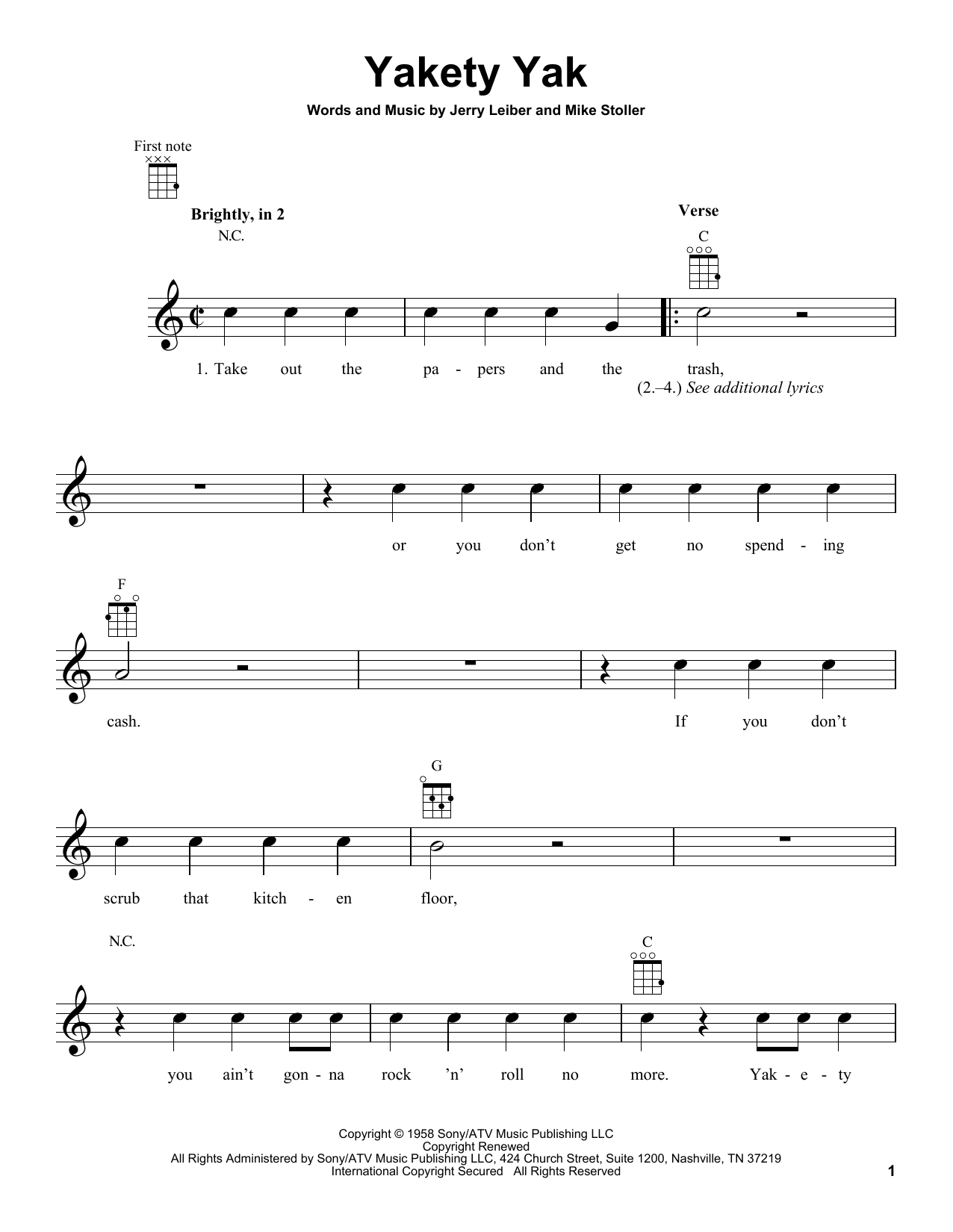 Tablature guitare Yakety Yak de The Coasters - Ukulele
