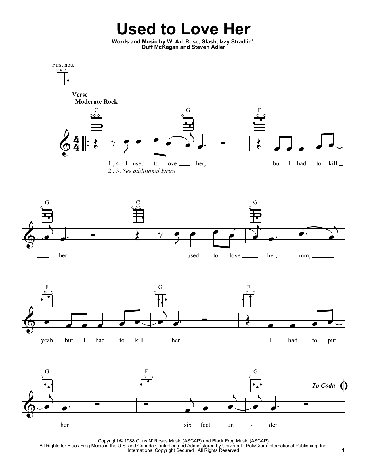 Tablature guitare Used To Love Her de Guns N' Roses - Ukulele