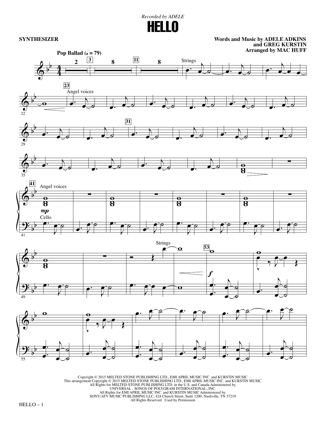 Hello (complete set of parts) sheet music for orchestra/band by Mac Huff, Adele, Adele Adkins and Greg Kurstin. Score Image Preview.