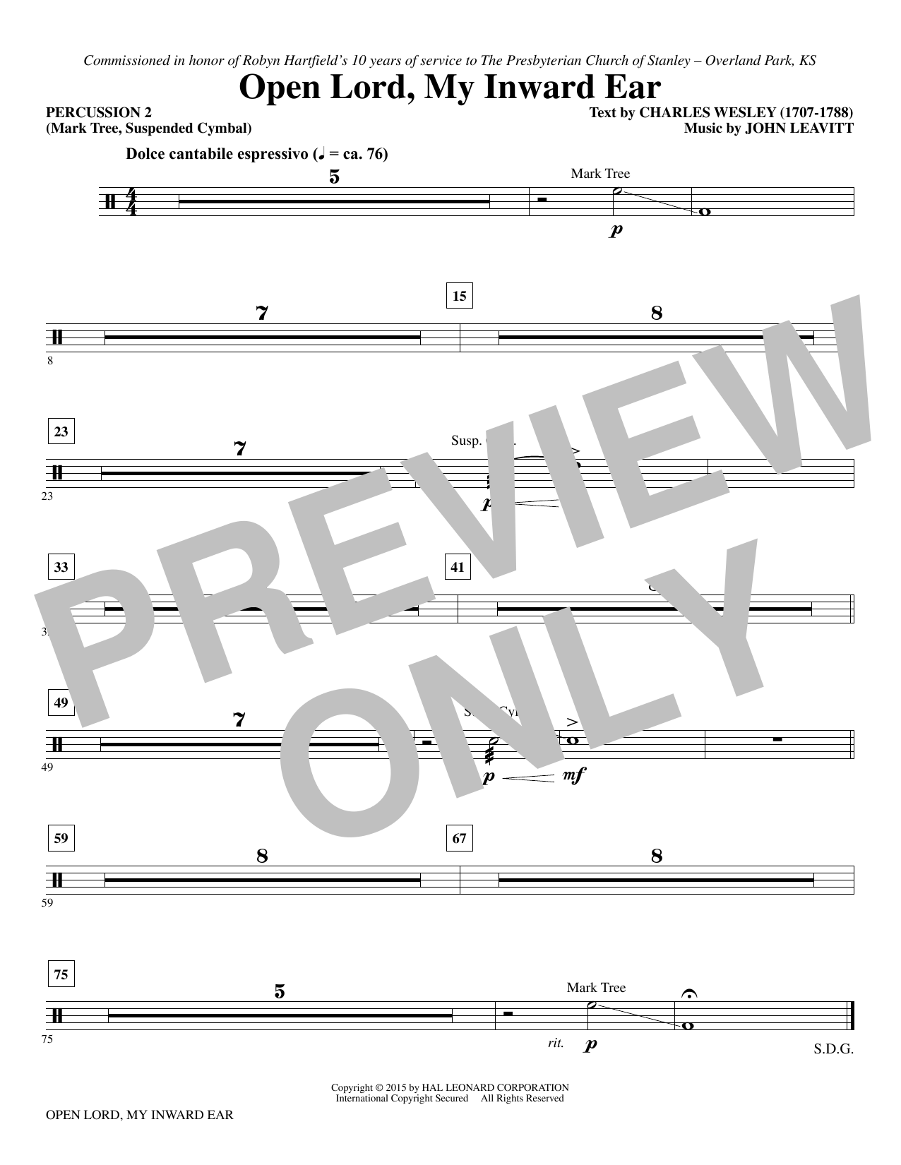 Open Lord, My Inward Ear - Percussion 2 (Choir Instrumental Pak)