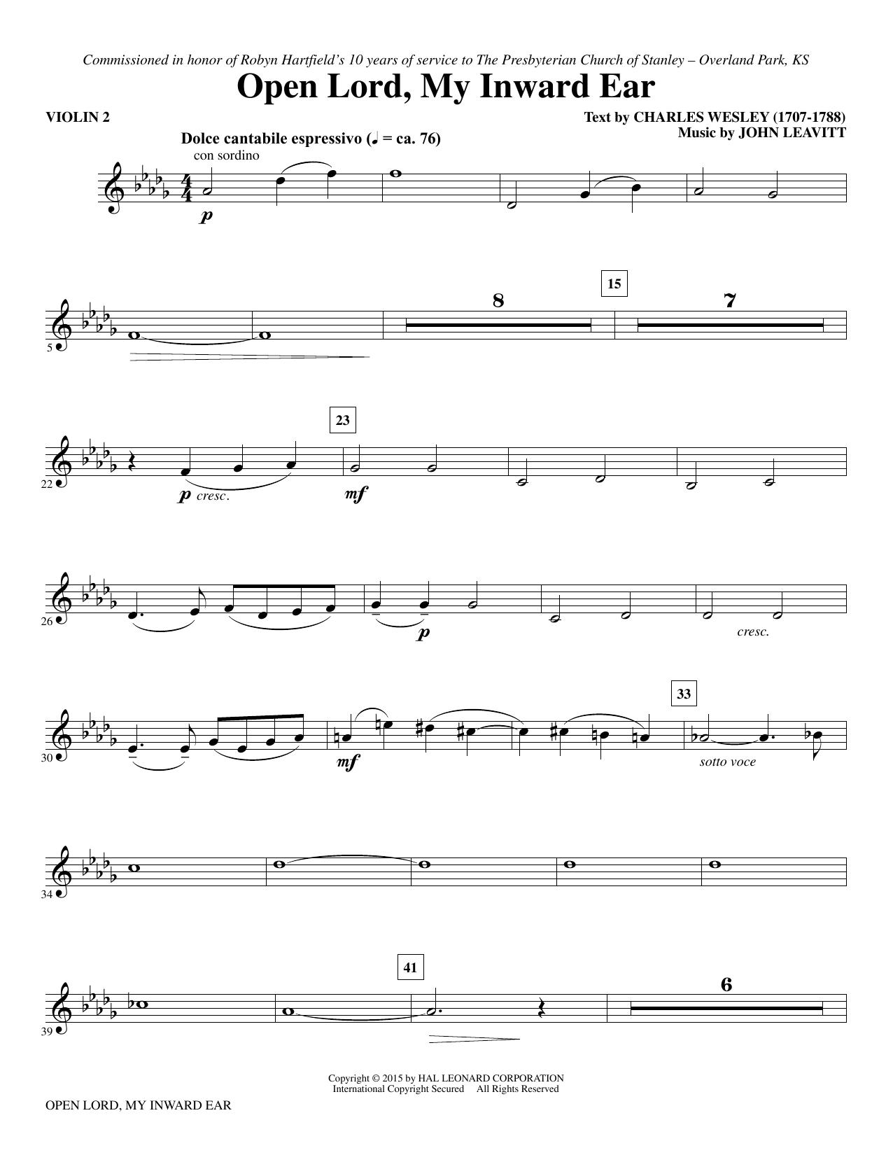 Open Lord, My Inward Ear - Violin 2 (Choir Instrumental Pak)
