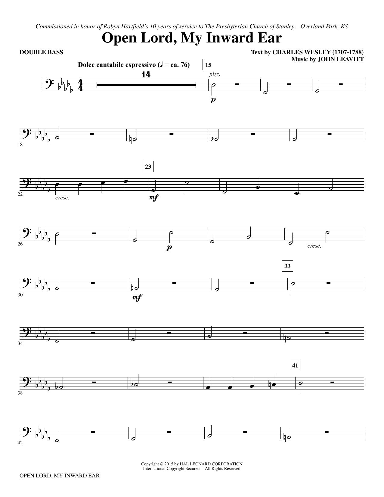 Open Lord, My Inward Ear - Double Bass (Choir Instrumental Pak)