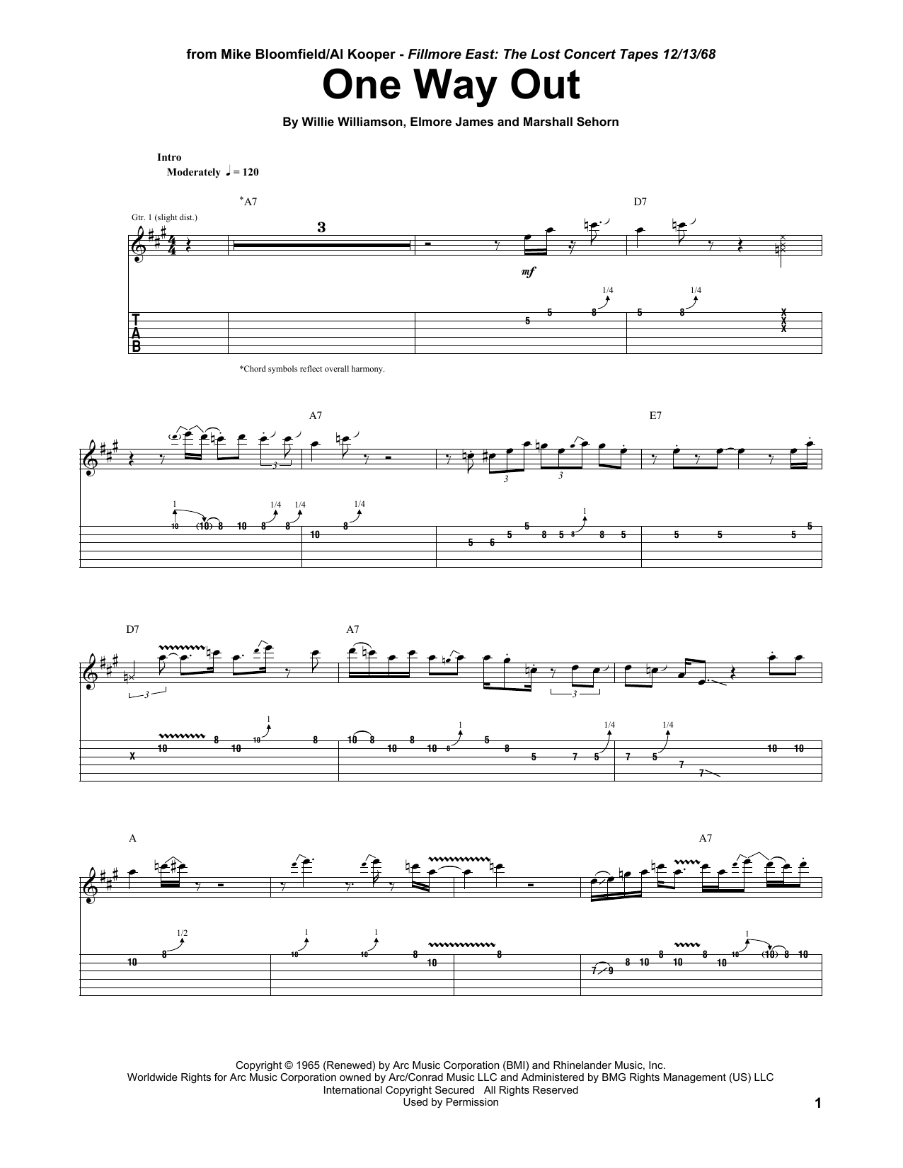 One Way Out (Guitar Tab)