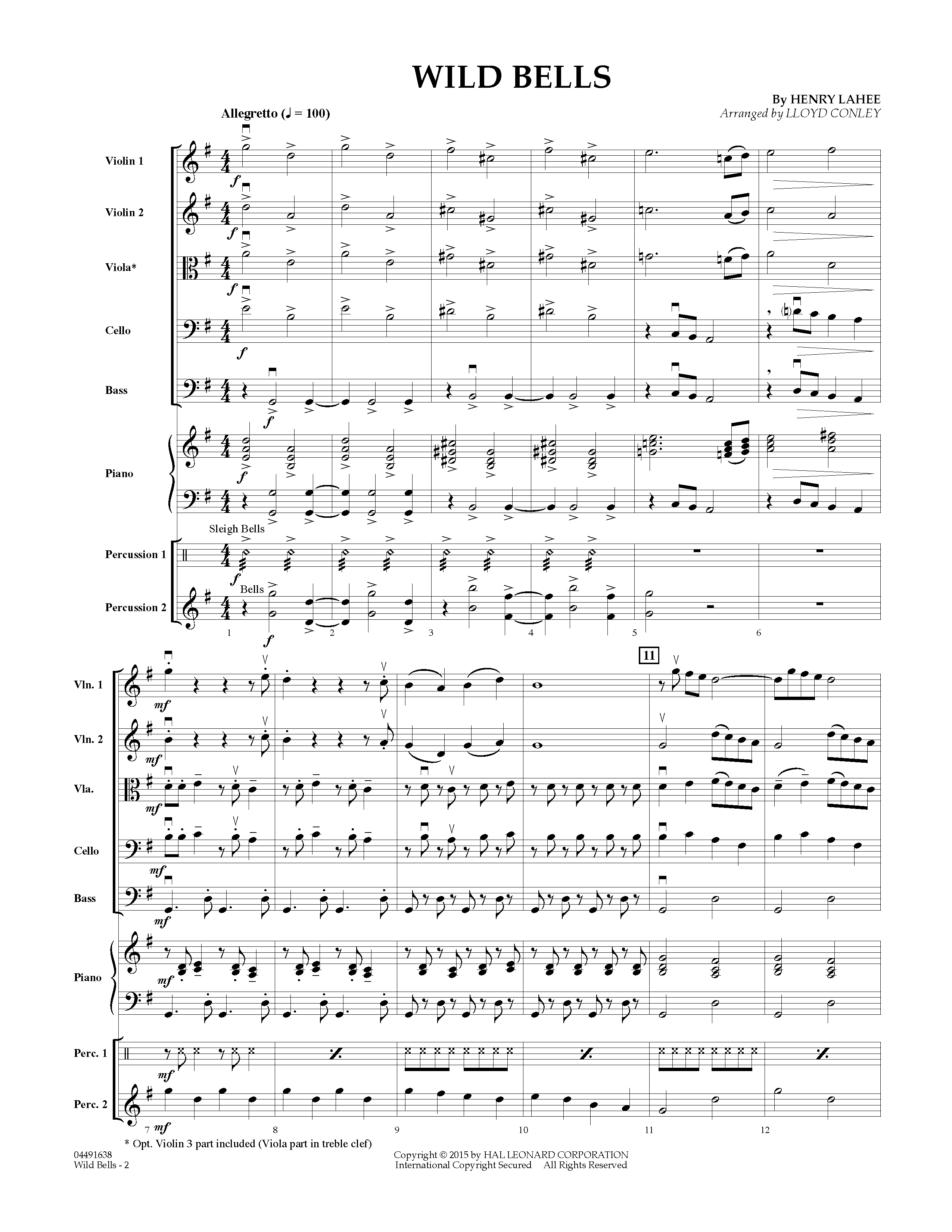 Wild Bells (COMPLETE) sheet music for orchestra by Lloyd Conley and Henry Lahee. Score Image Preview.