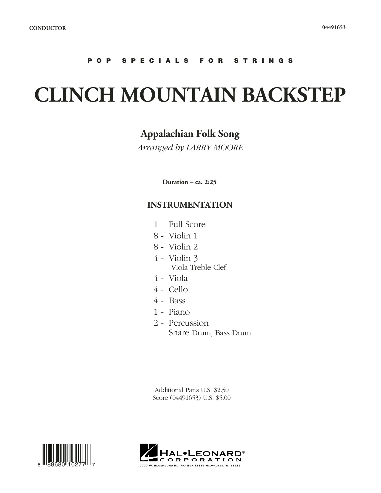 Clinch Mountain Backstep (COMPLETE) sheet music for orchestra by Larry Moore and Appalachian Folk. Score Image Preview.