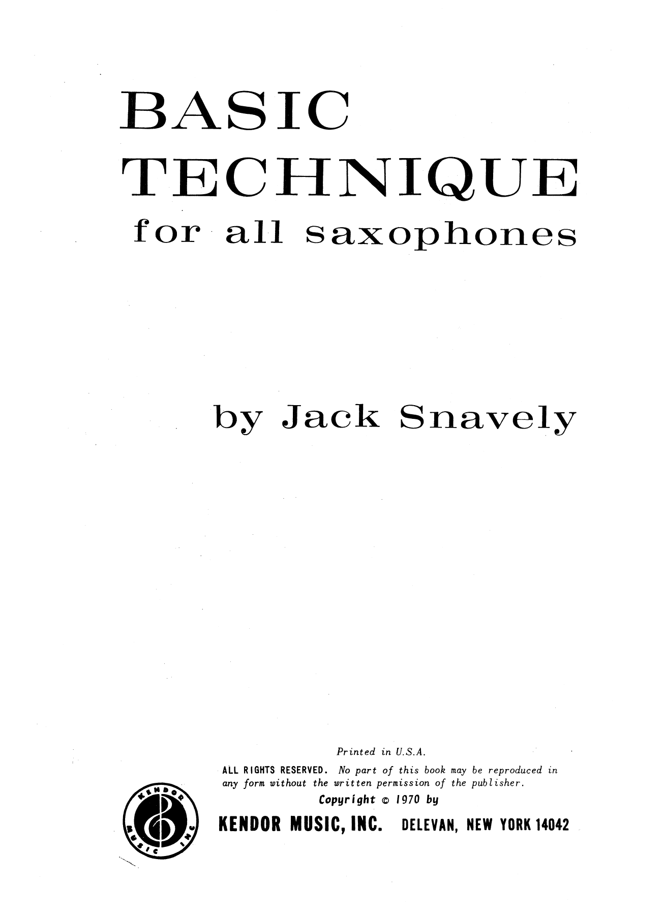 Basic Technique For All Saxophones Partition Digitale