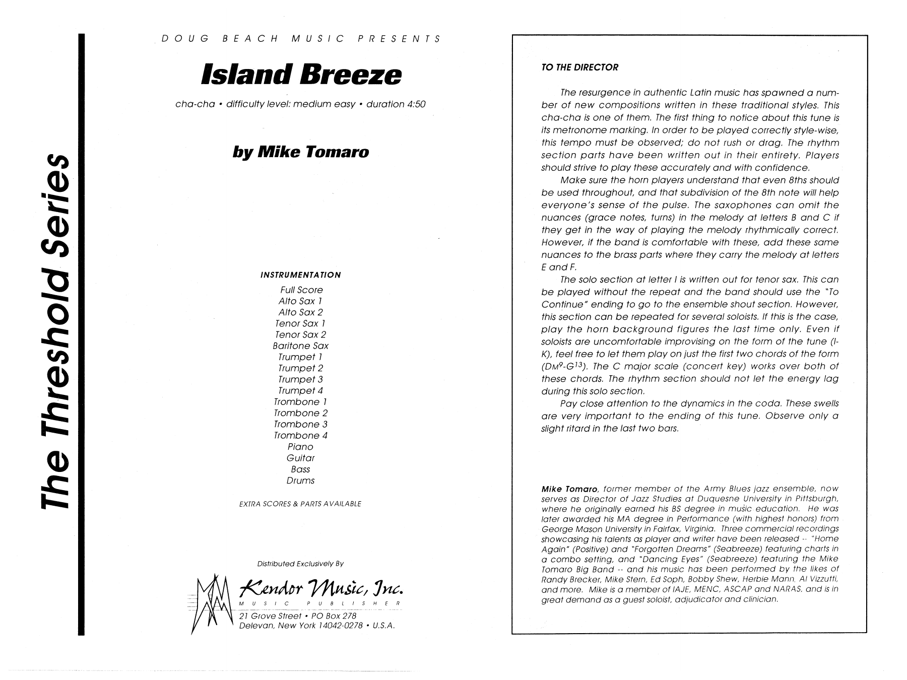 Island Breeze (COMPLETE) sheet music for jazz band by Mike Tomaro. Score Image Preview.