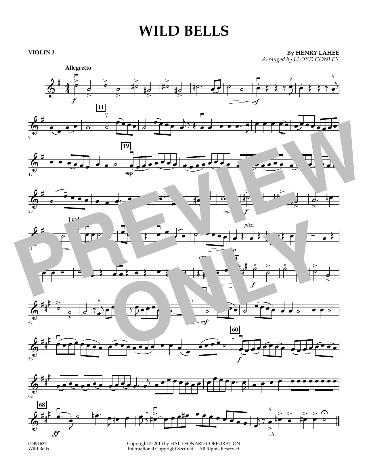 Wild Bells - Violin 2 (Orchestra)