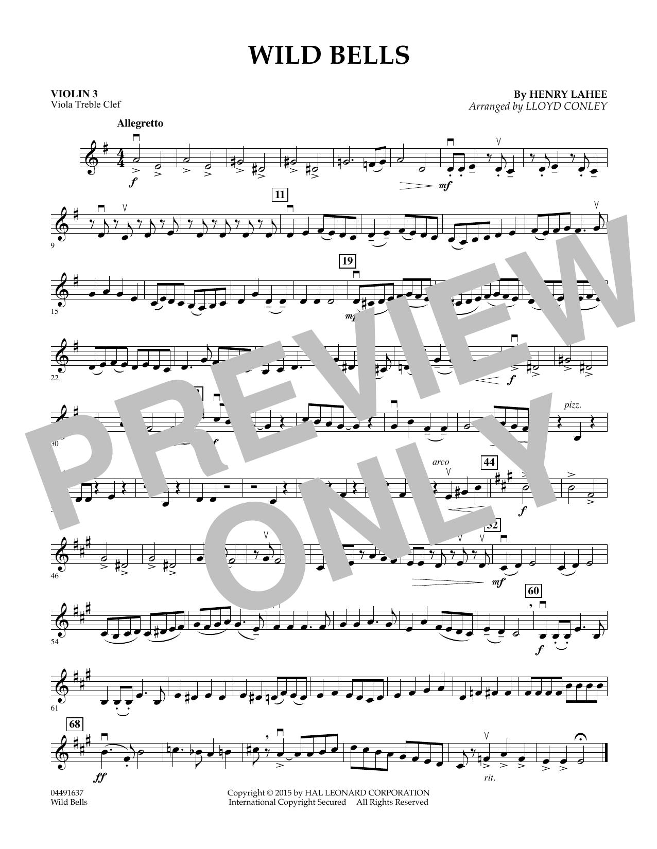 Wild Bells - Violin 3 (Viola Treble Clef) (Orchestra)