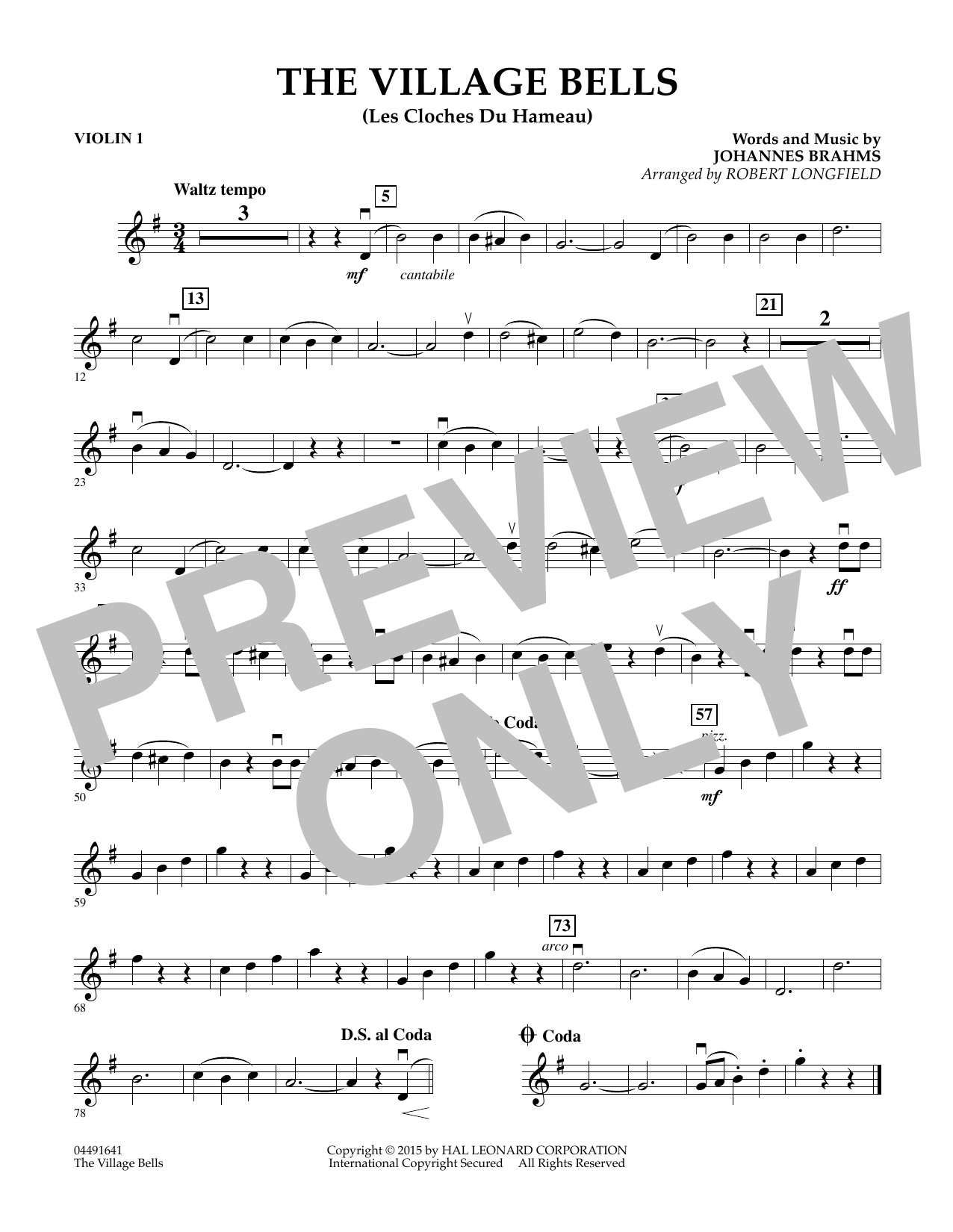 The Village Bells (Les Cloche du Hameau) - Violin 1 (Orchestra)