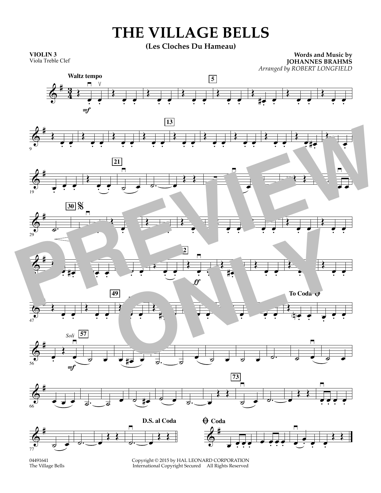 The Village Bells (Les Cloche du Hameau) - Violin 3 (Viola Treble Clef) (Orchestra)
