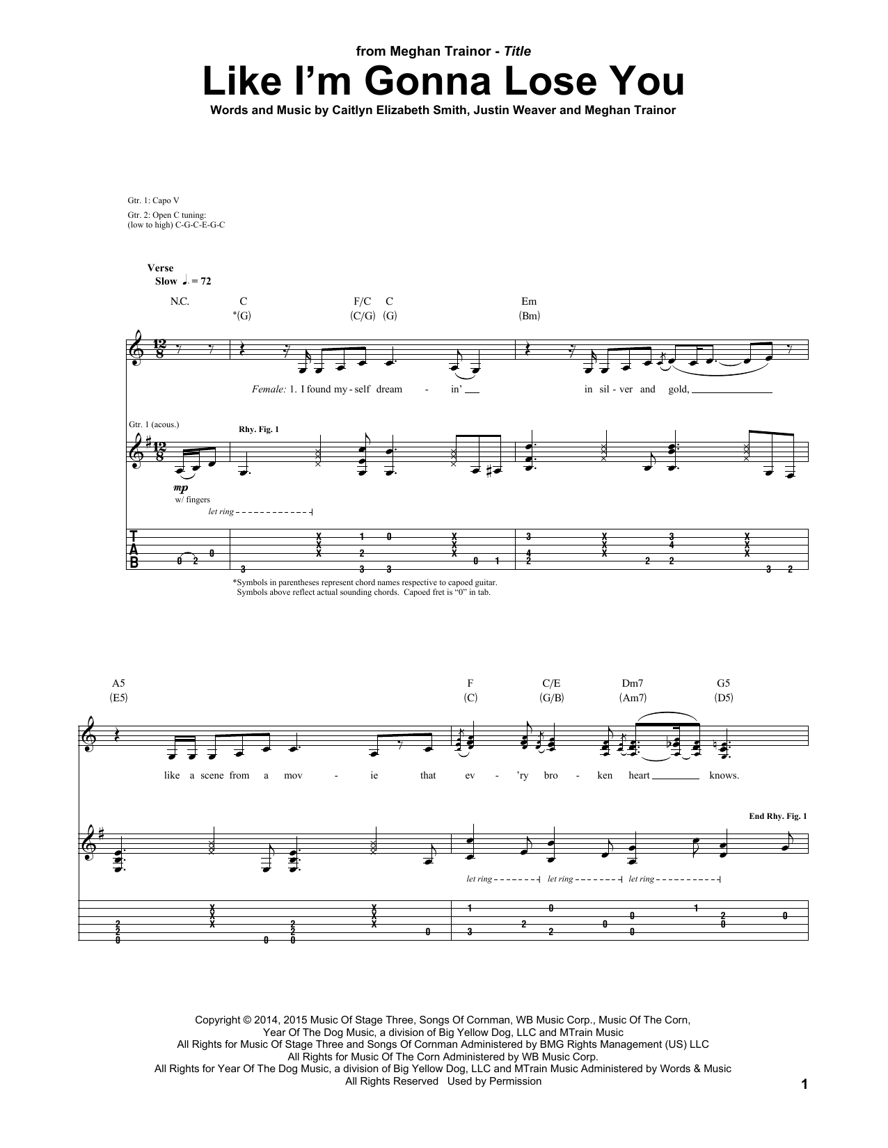 Tablature guitare Like I'm Gonna Lose You de Meghan Trainor - Tablature Guitare