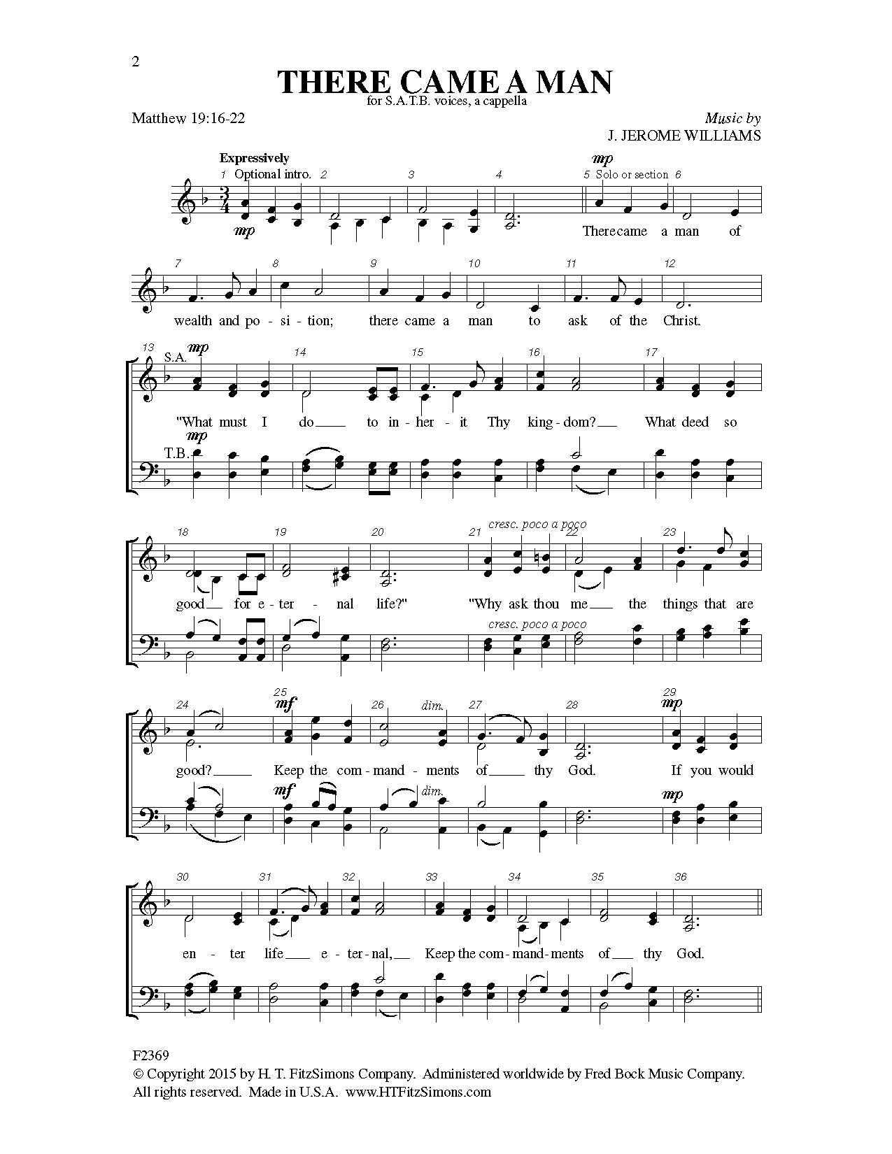 There Came a Man Sheet Music