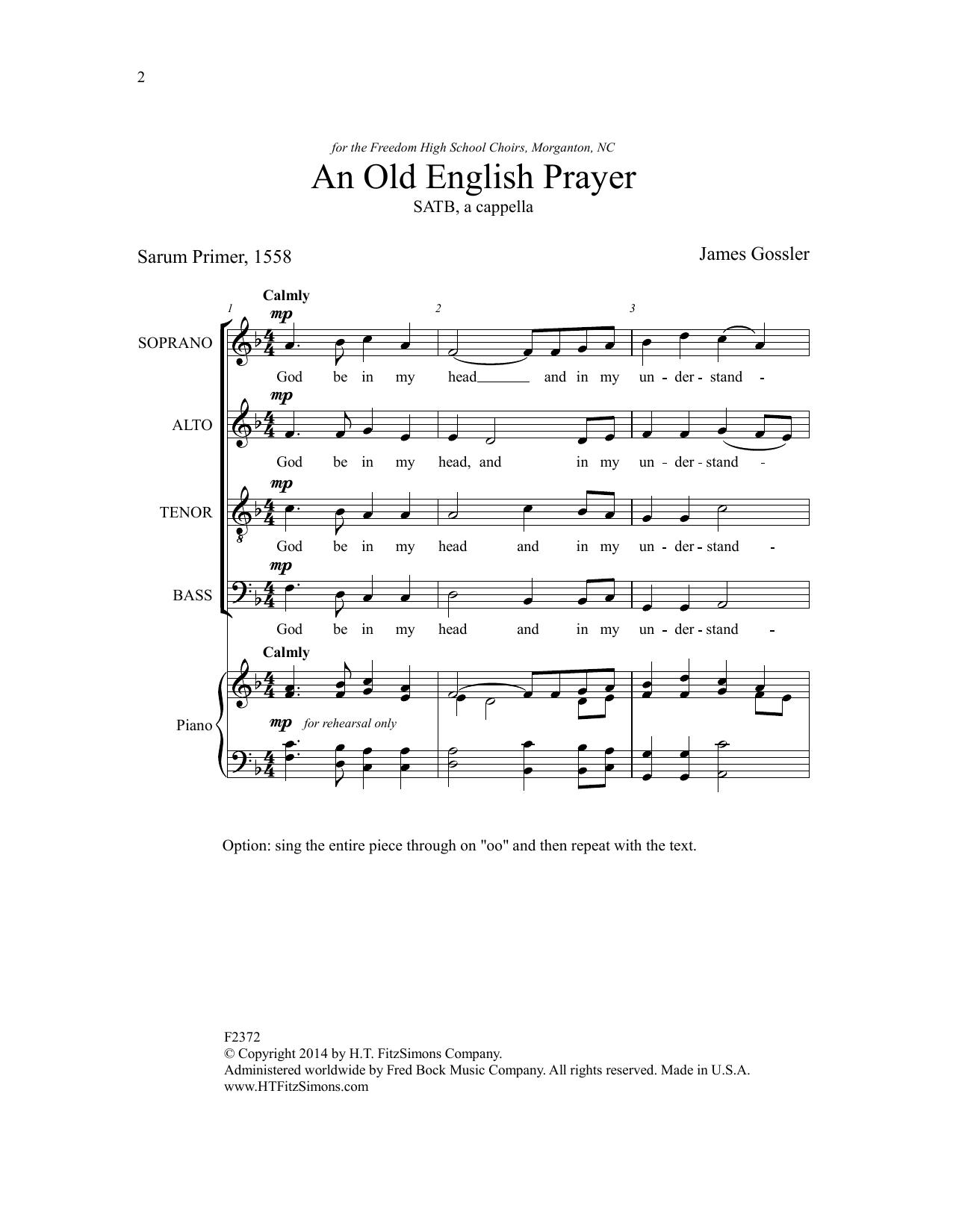 An Old English Prayer Sheet Music