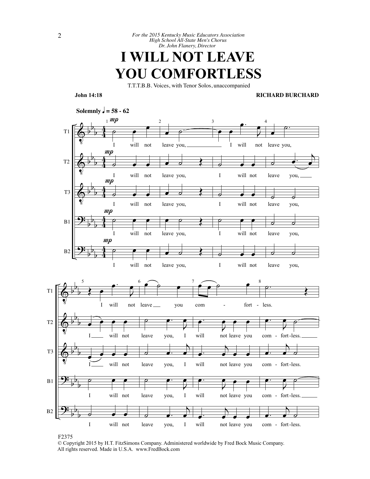I Will Not Leave You Comfortless Sheet Music